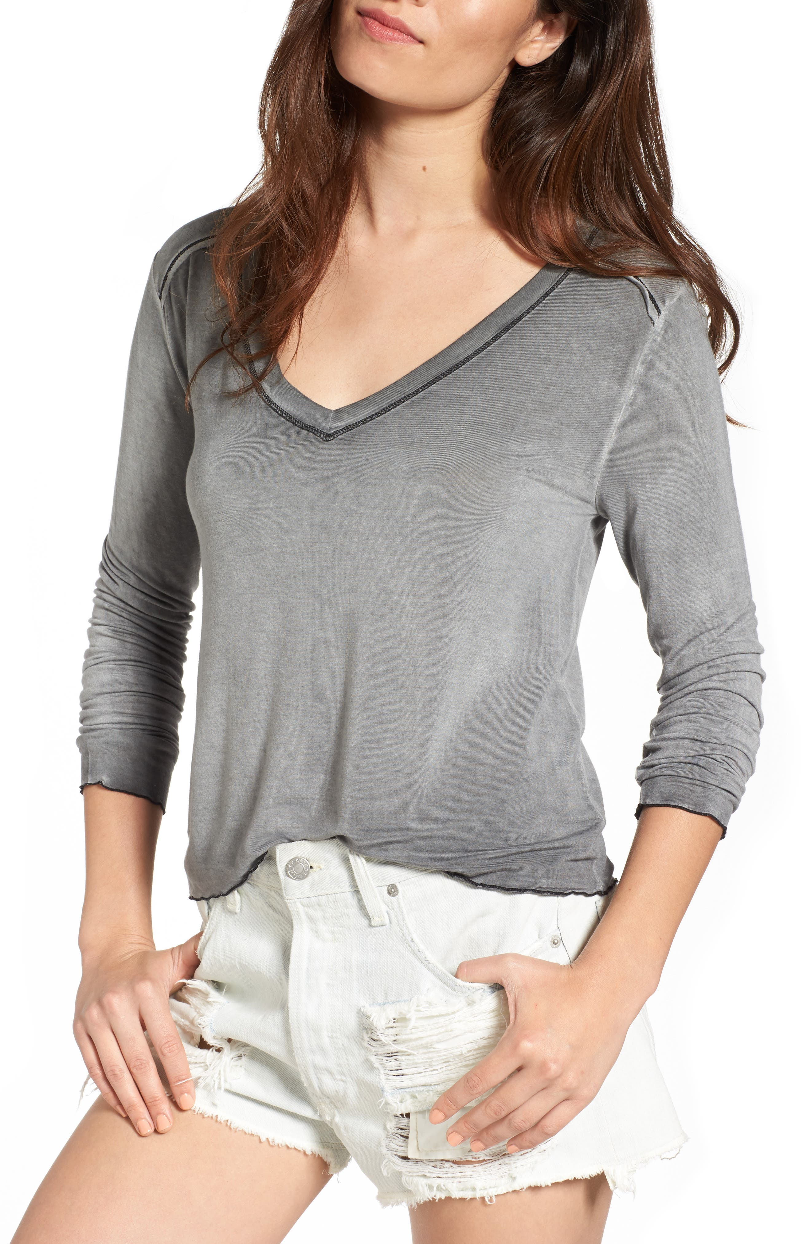 Washed Tee,                         Main,                         color, Charcoal