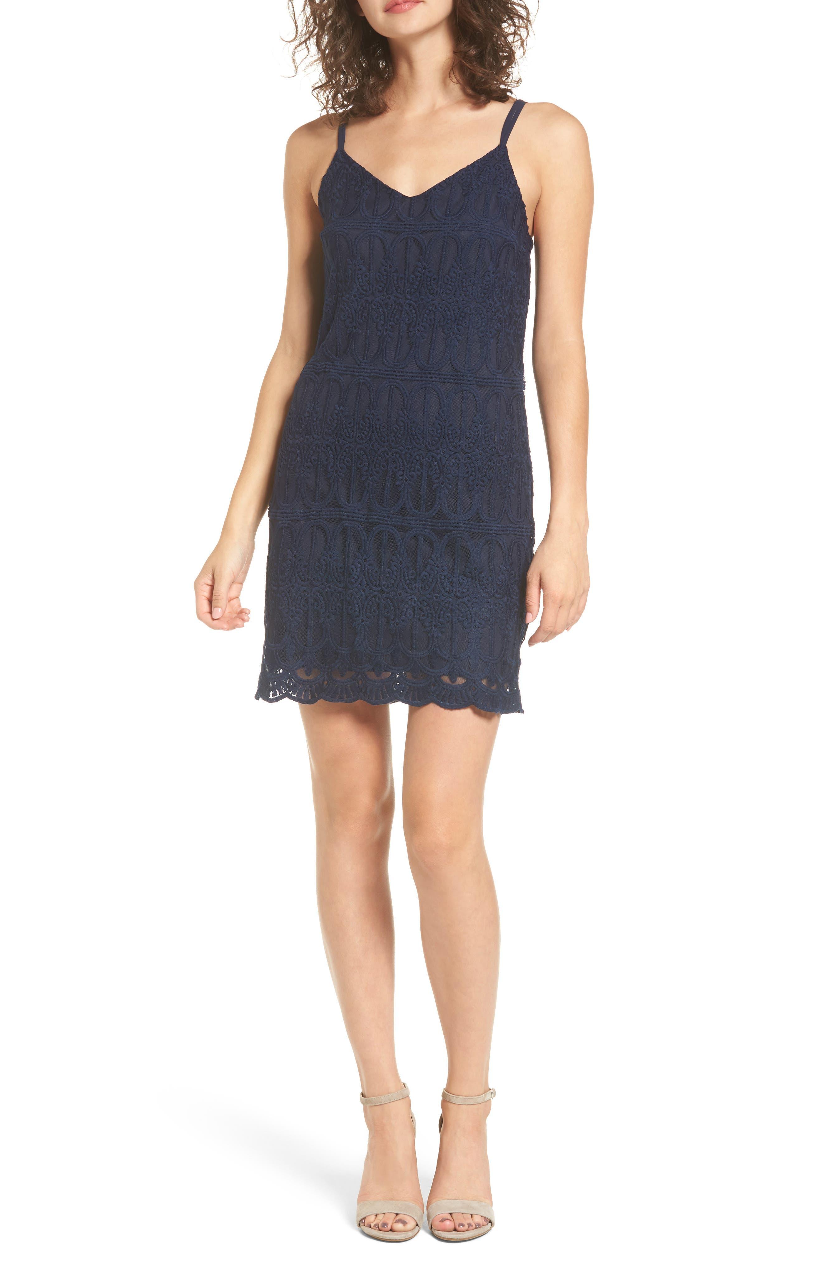 Cross Back Lace Dress,                         Main,                         color, Navy