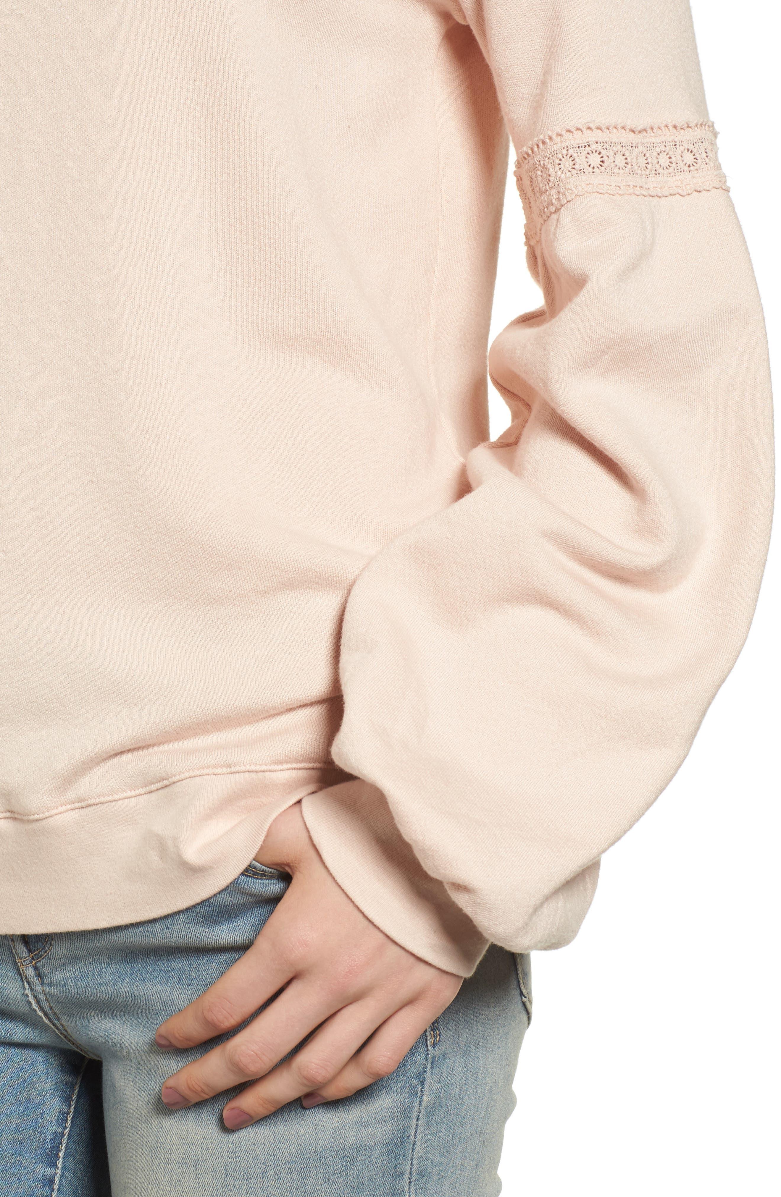 Blouson Sleeve Sweatshirt,                             Alternate thumbnail 4, color,                             Ivory Shell