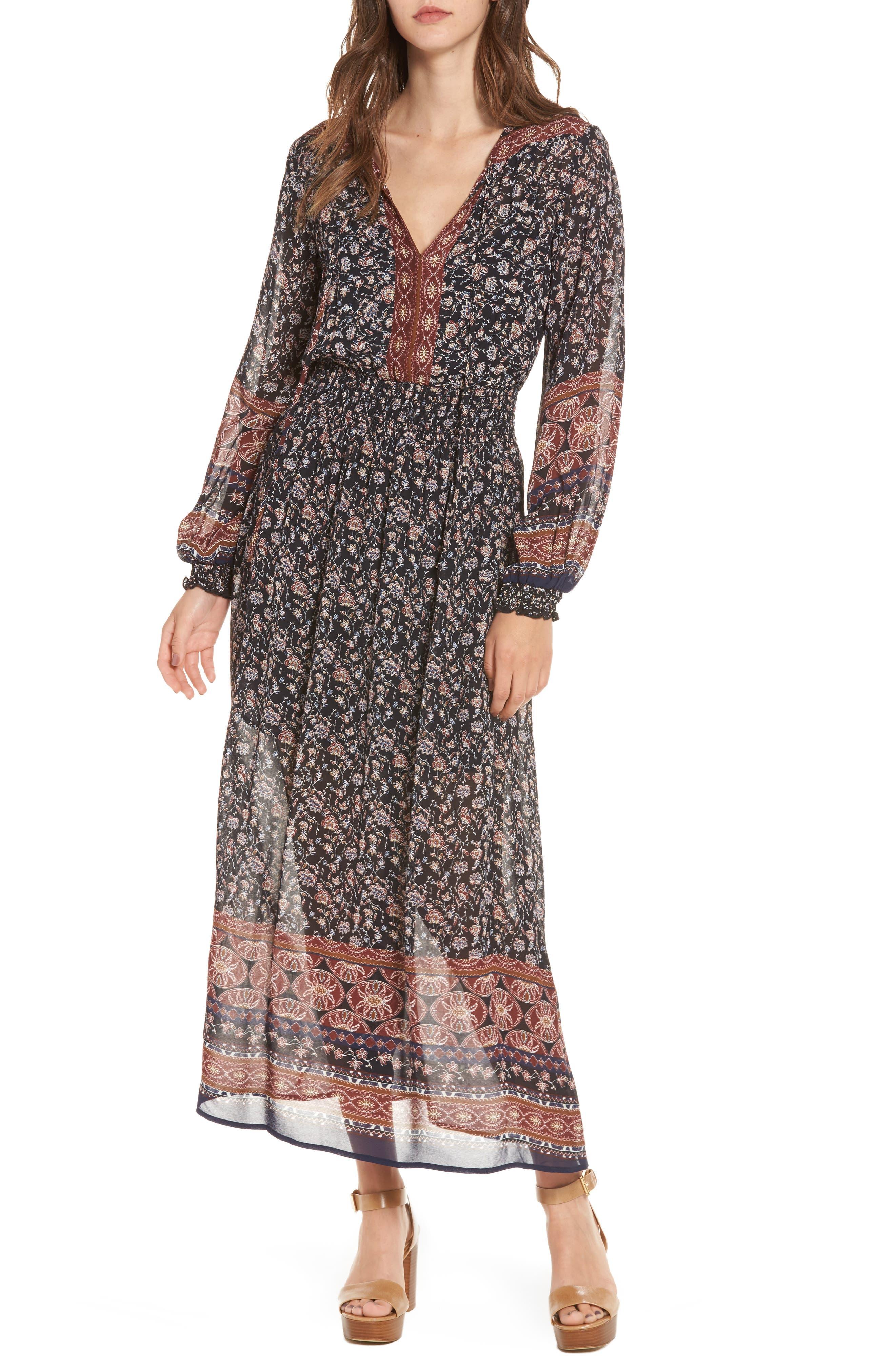 Eden Dress,                         Main,                         color, Black Multi Border