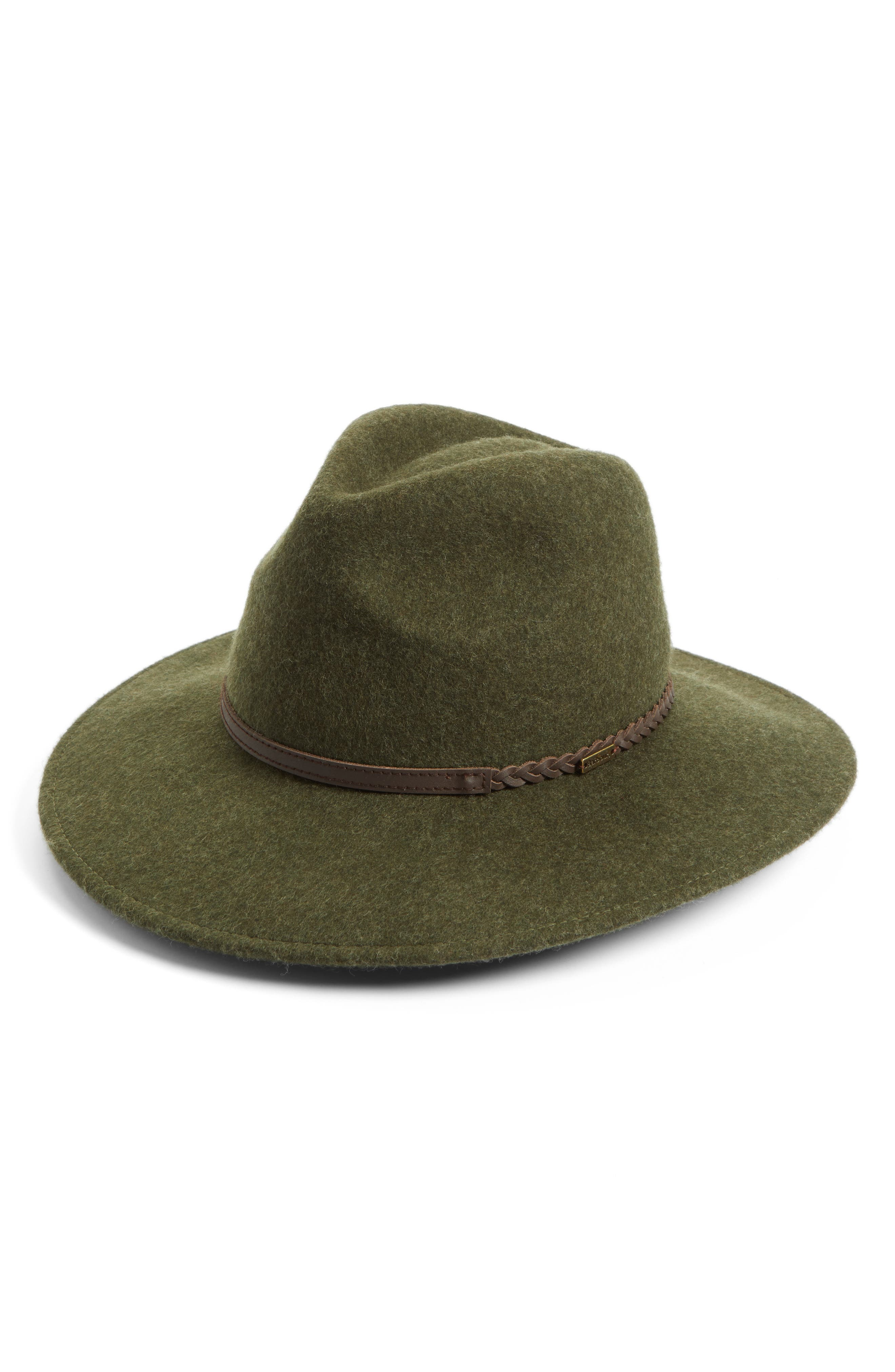Tack Felted Wool Fedora,                         Main,                         color, Olive Melange