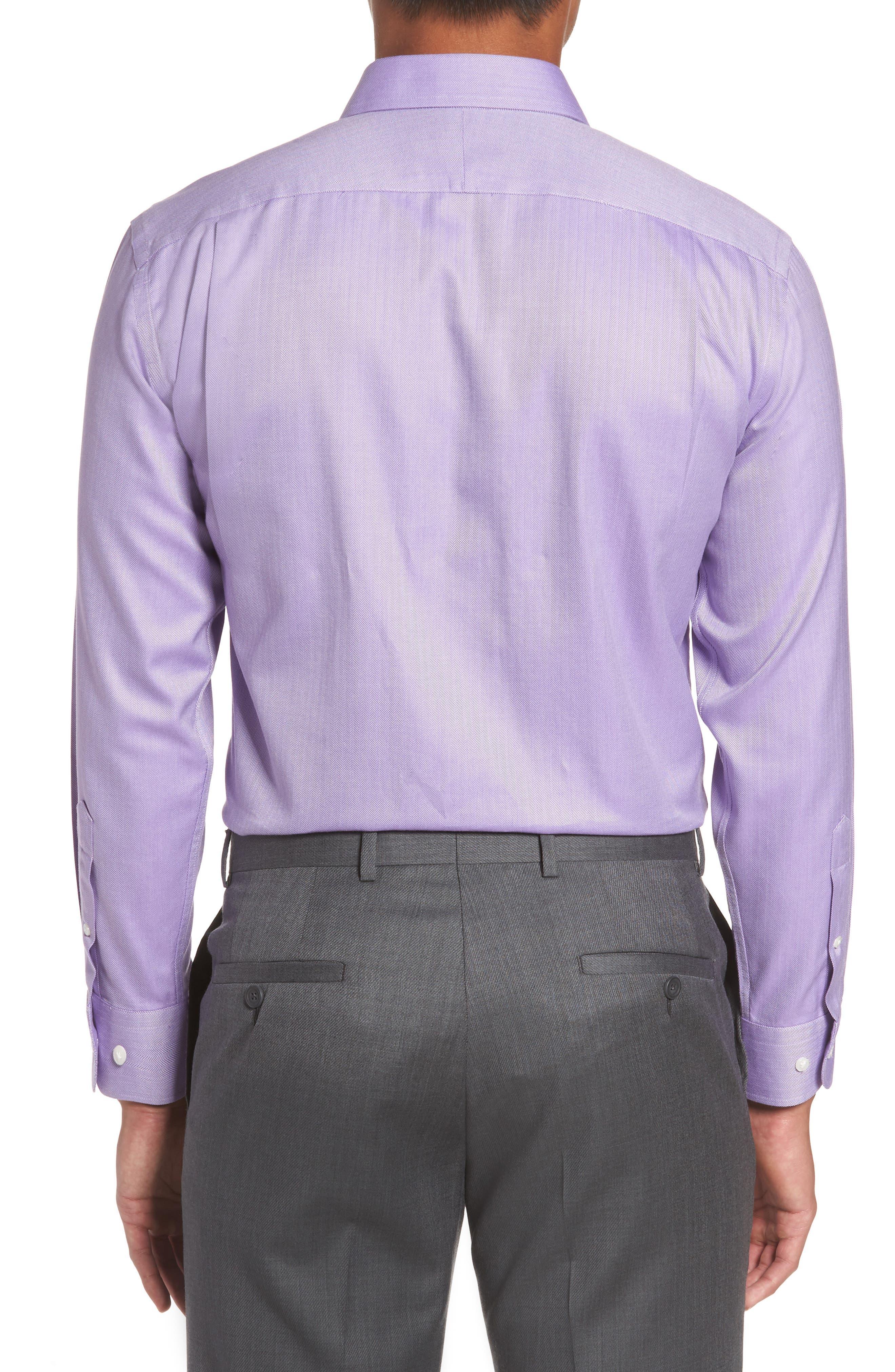 Smartcare<sup>™</sup> Trim Fit Herringbone Dress Shirt,                             Alternate thumbnail 3, color,                             Lavender