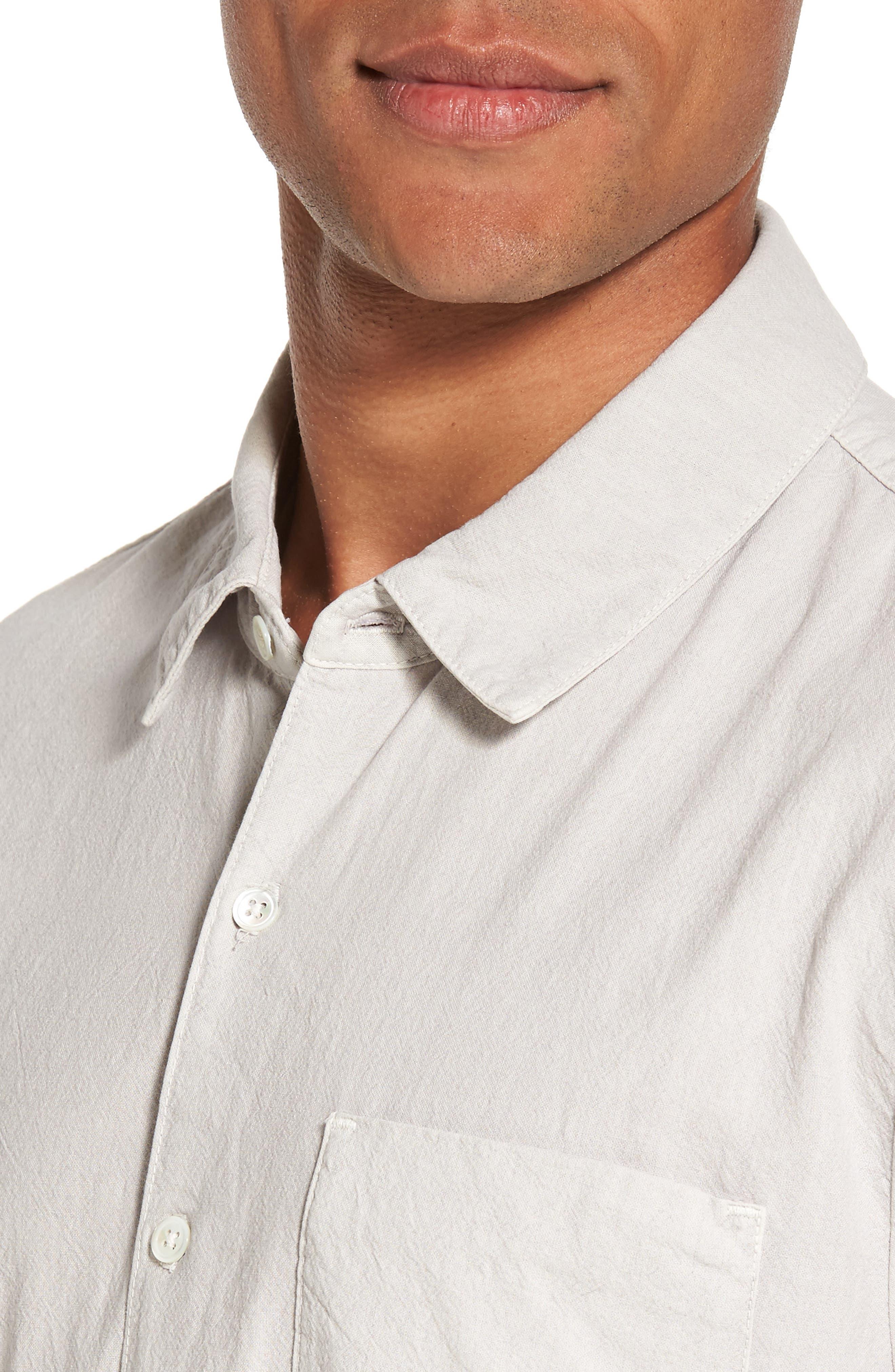 Slim Cotton Sport Shirt,                             Alternate thumbnail 4, color,                             Concrete Dust Pigment