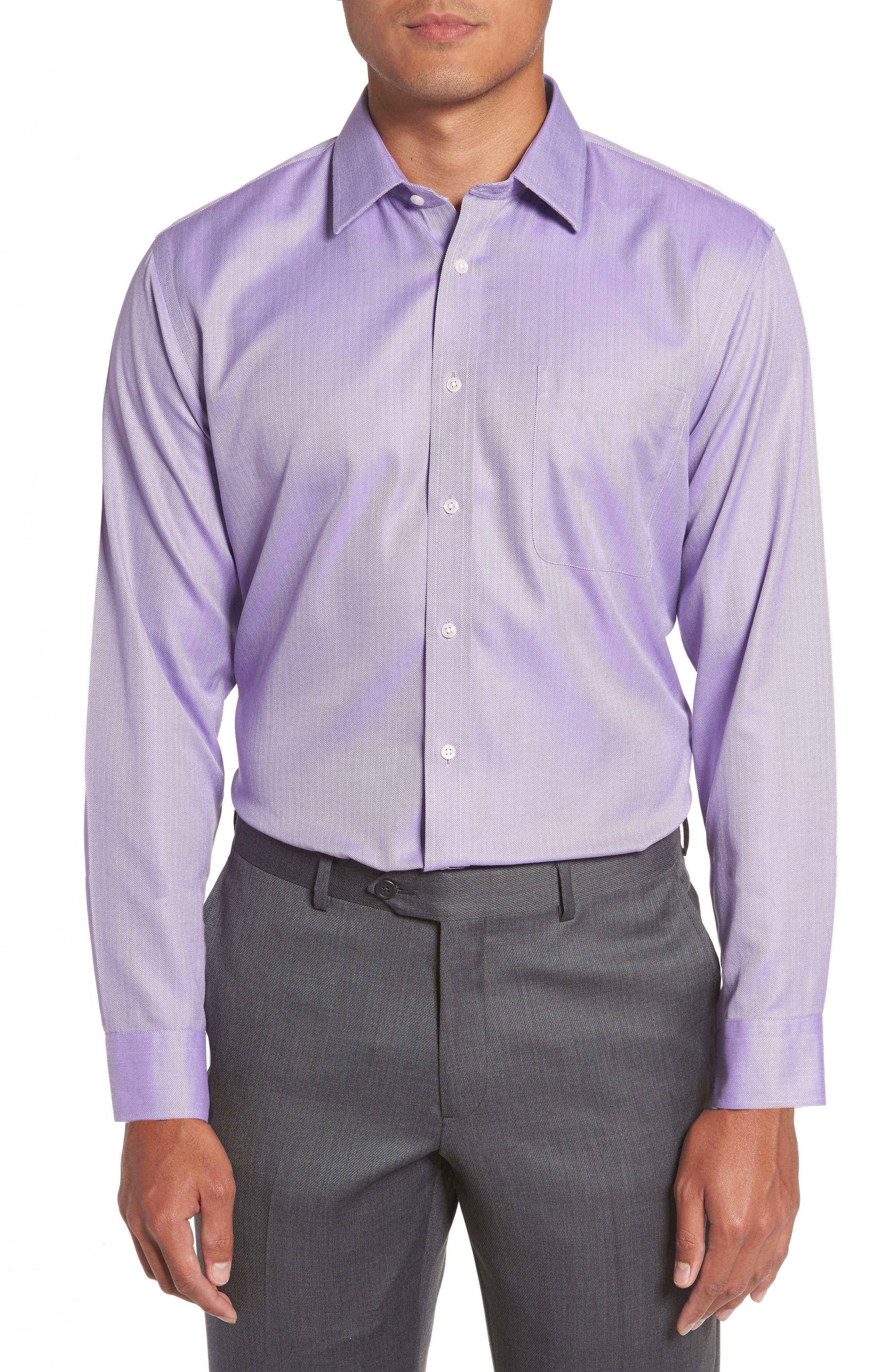 Smartcare<sup>™</sup> Trim Fit Herringbone Dress Shirt,                             Alternate thumbnail 2, color,                             Lavender