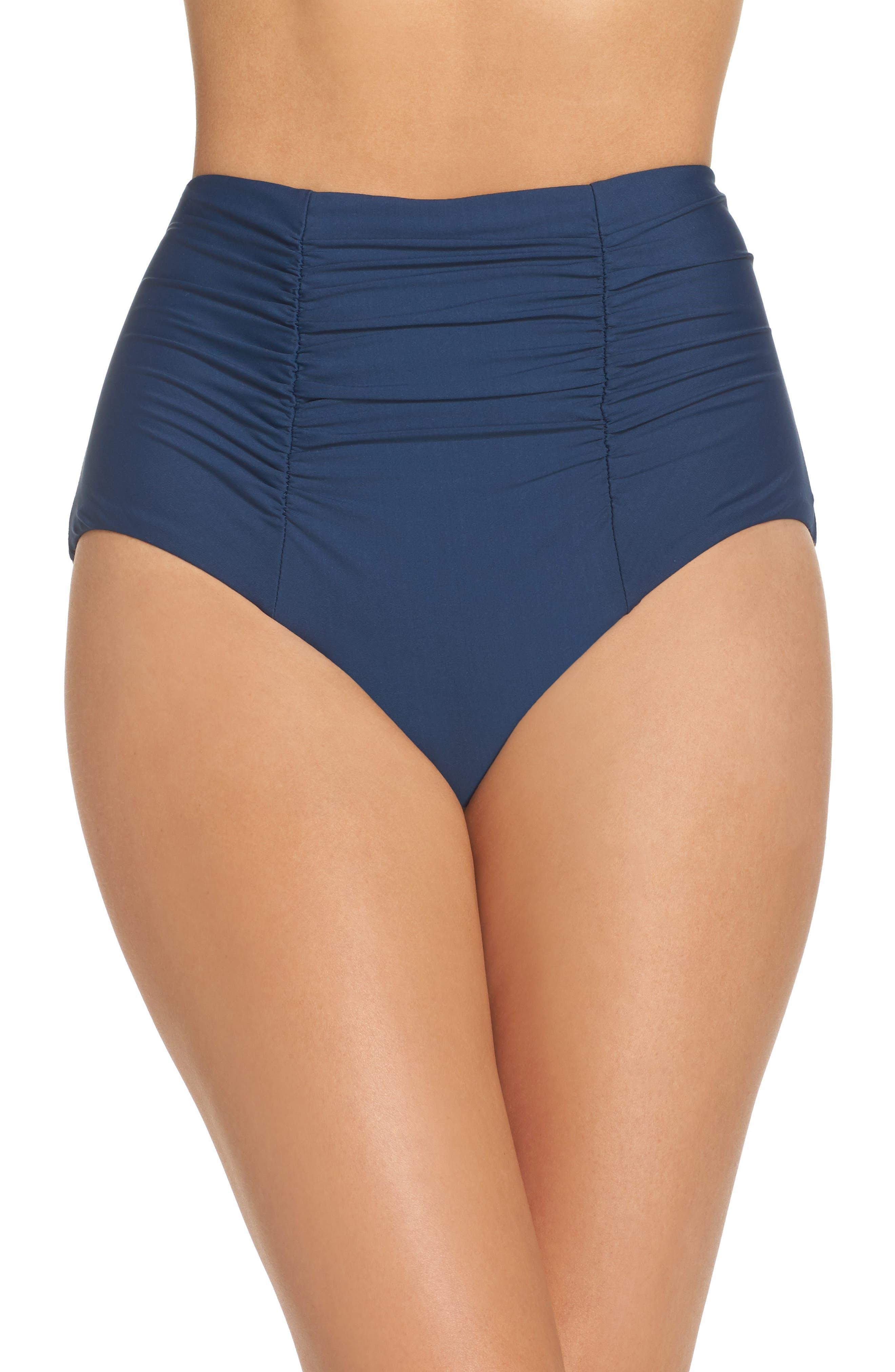 Color Code High Waist Bikini Bottoms,                         Main,                         color, Indigo