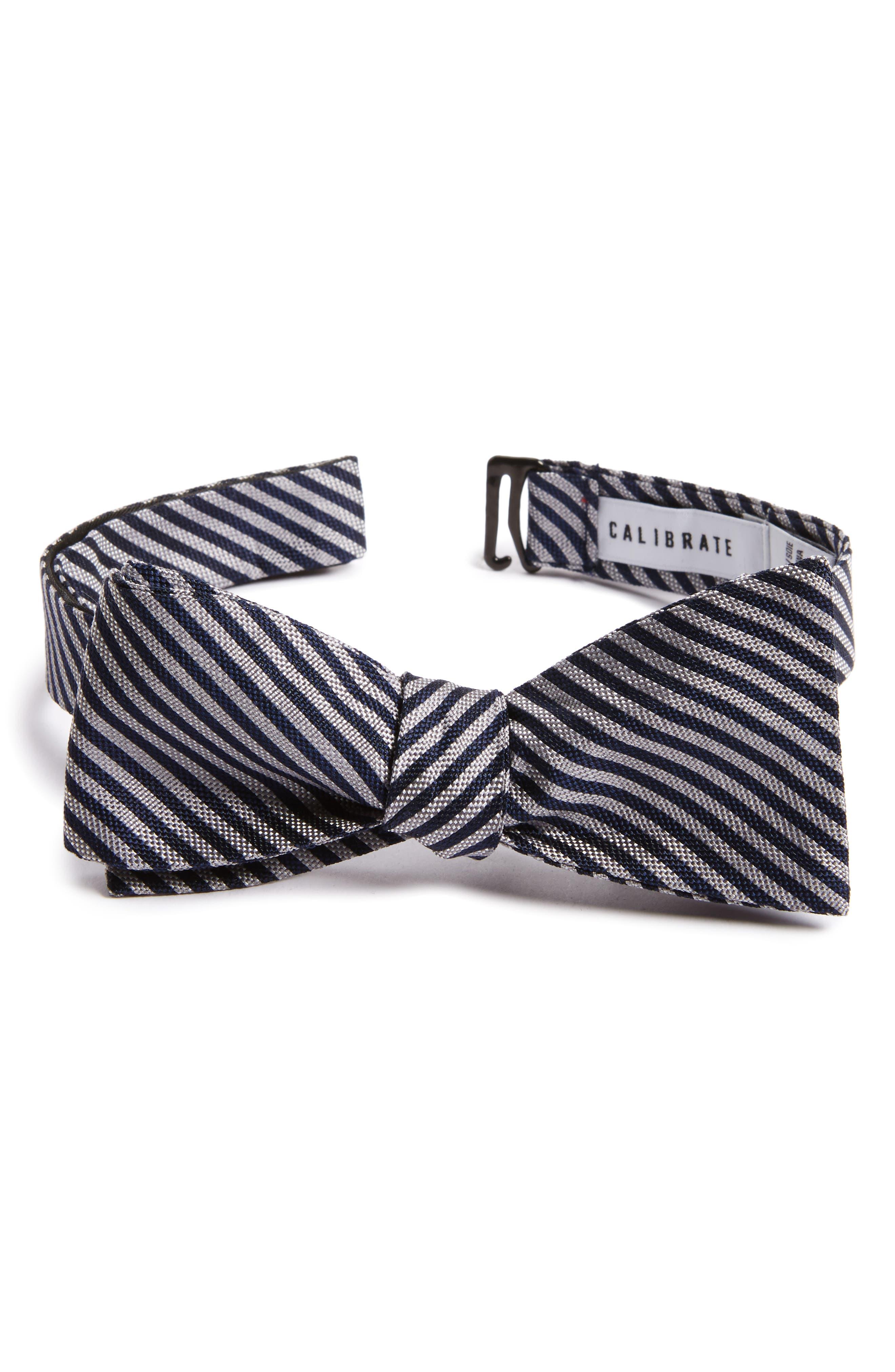 Main Image - Calibrate Micro Oxford Stripe Silk Bow Tie