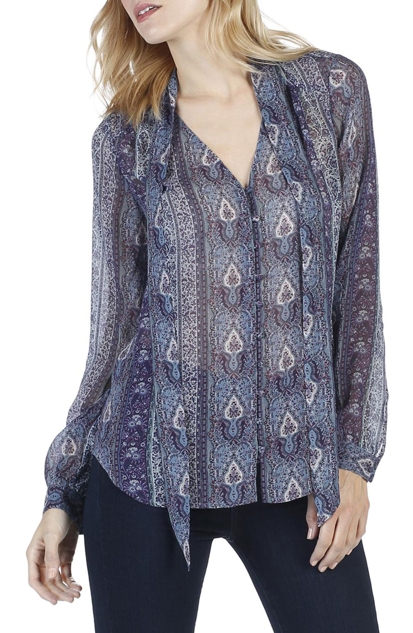 Dion Silk Georgette Blouse,                             Alternate thumbnail 3, color,                             India Ink Multi