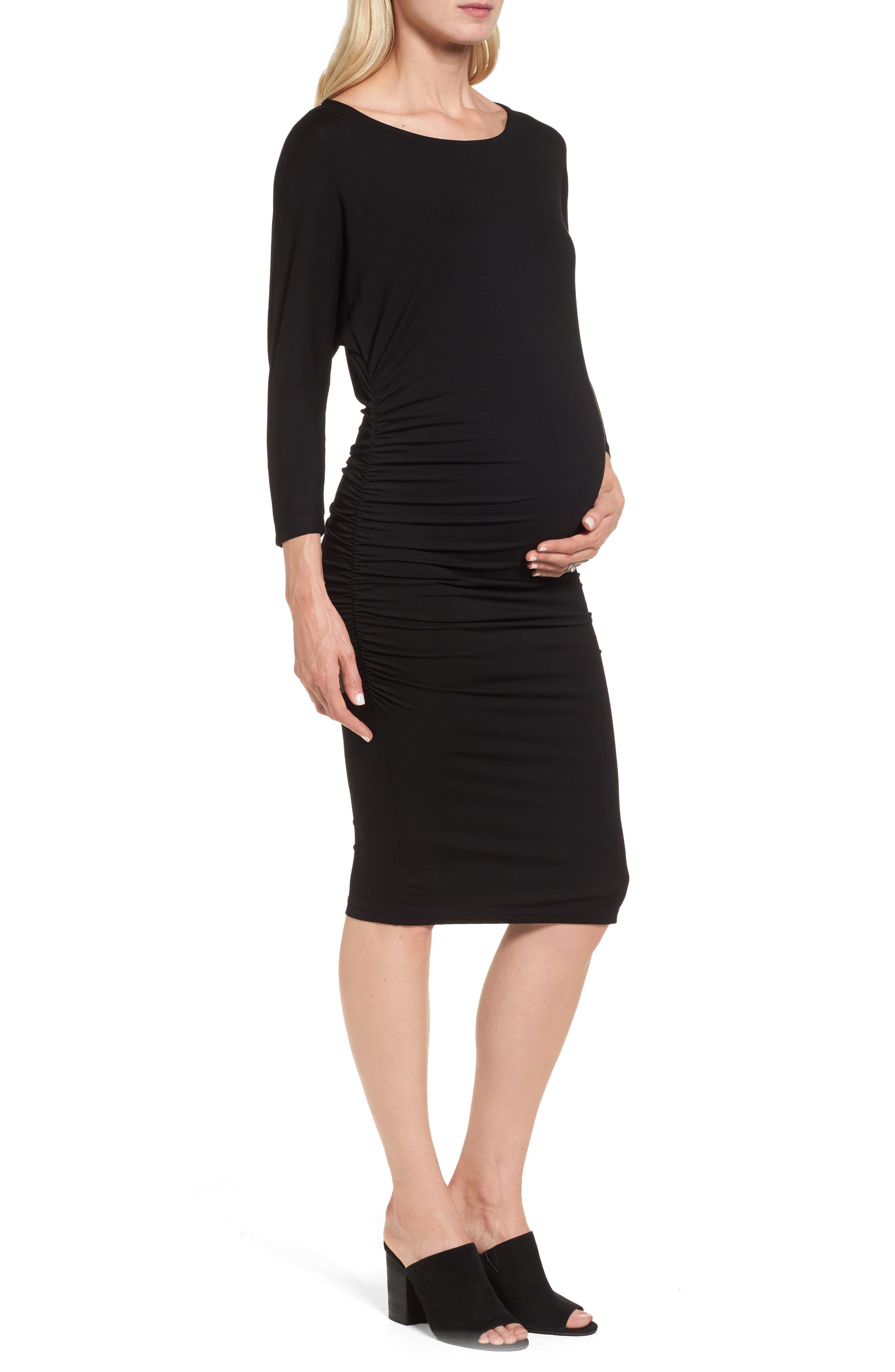 Jessa Maternity Dress,                             Alternate thumbnail 3, color,                             Caviar Black
