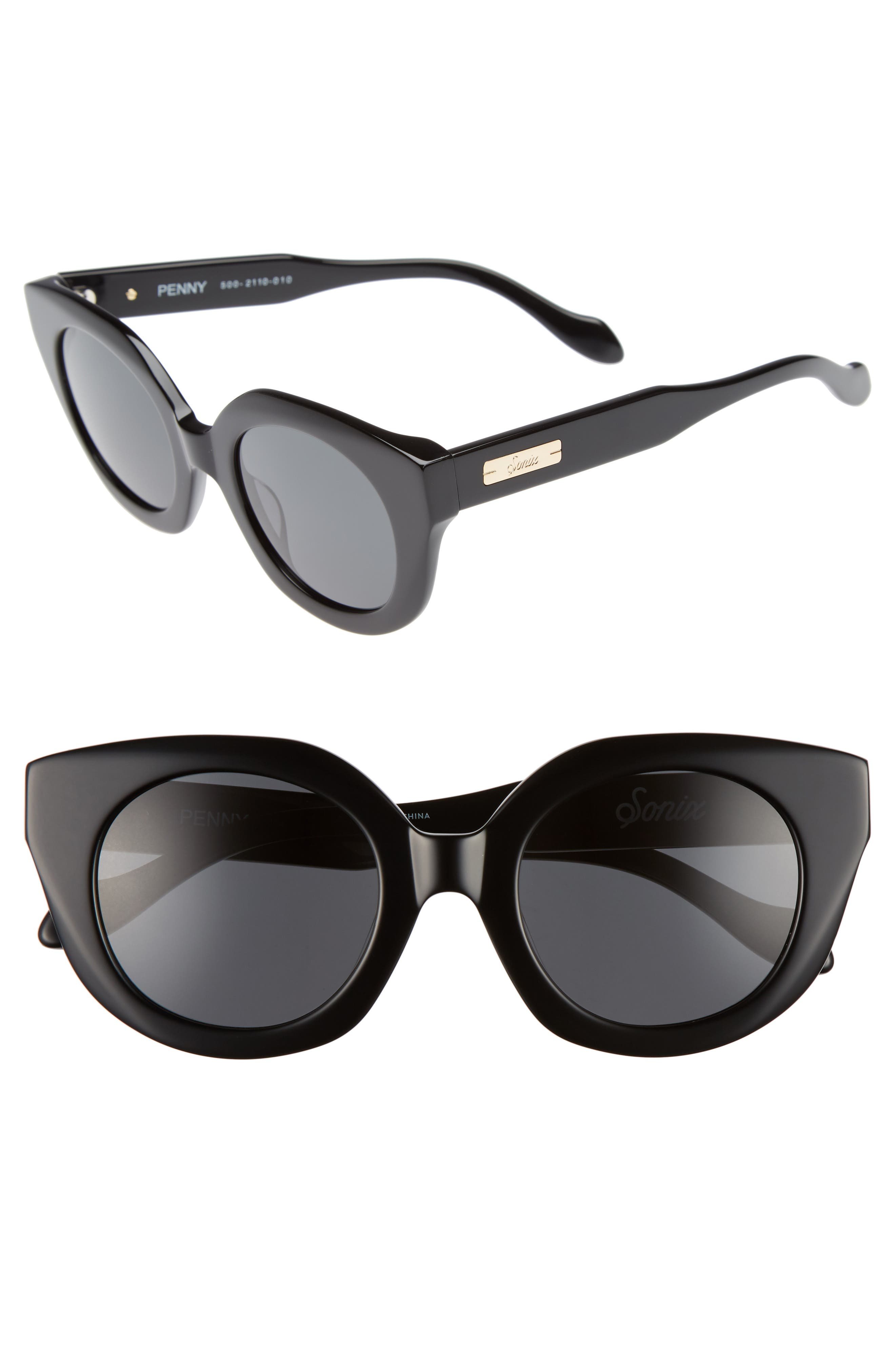 Penny 48mm Cat Eye Sunglasses,                             Main thumbnail 1, color,                             Black/ Black Solid