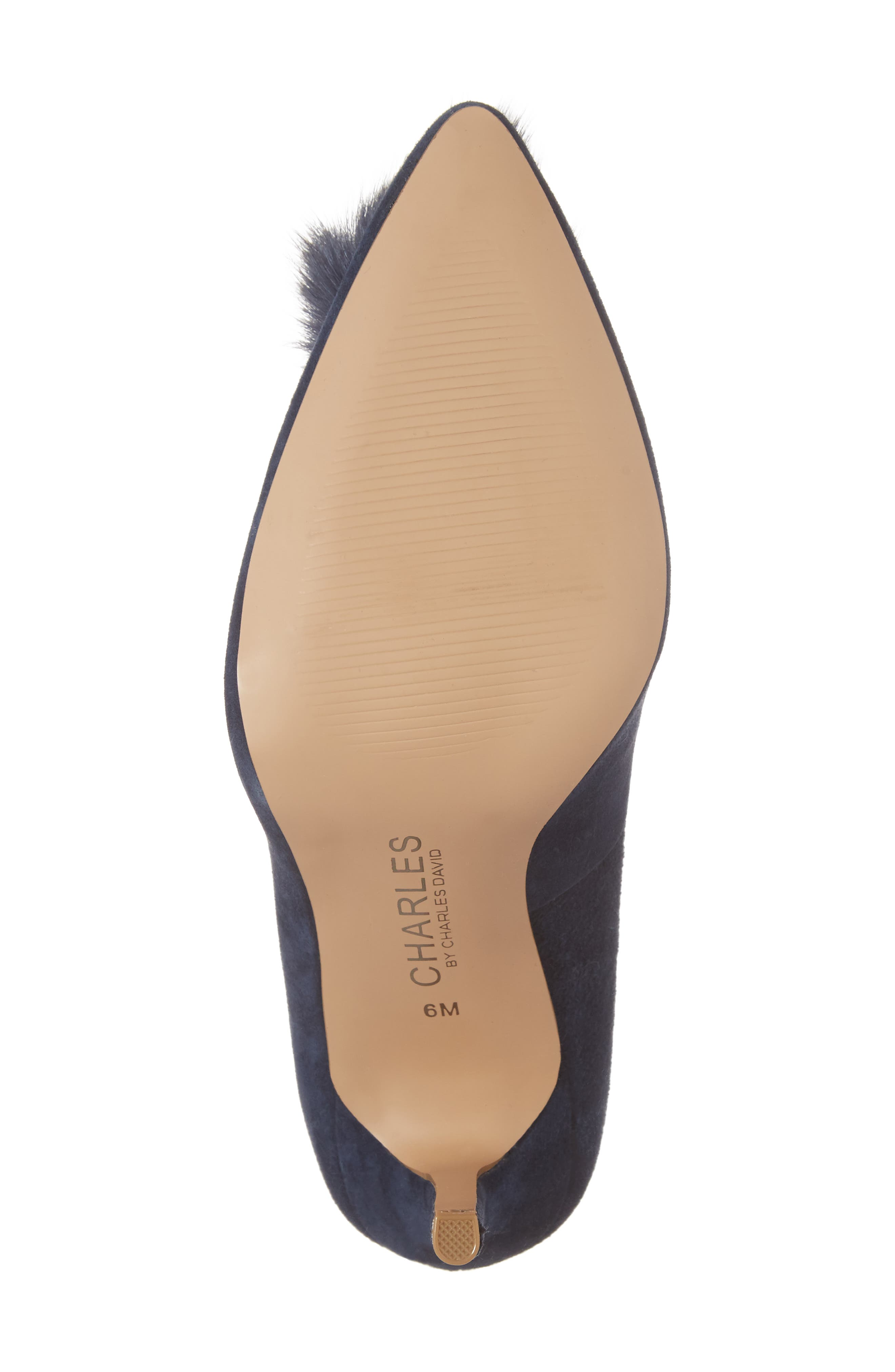 Pixie Pump with Genuine Fox Fur Pom,                             Alternate thumbnail 6, color,                             Midnight Suede