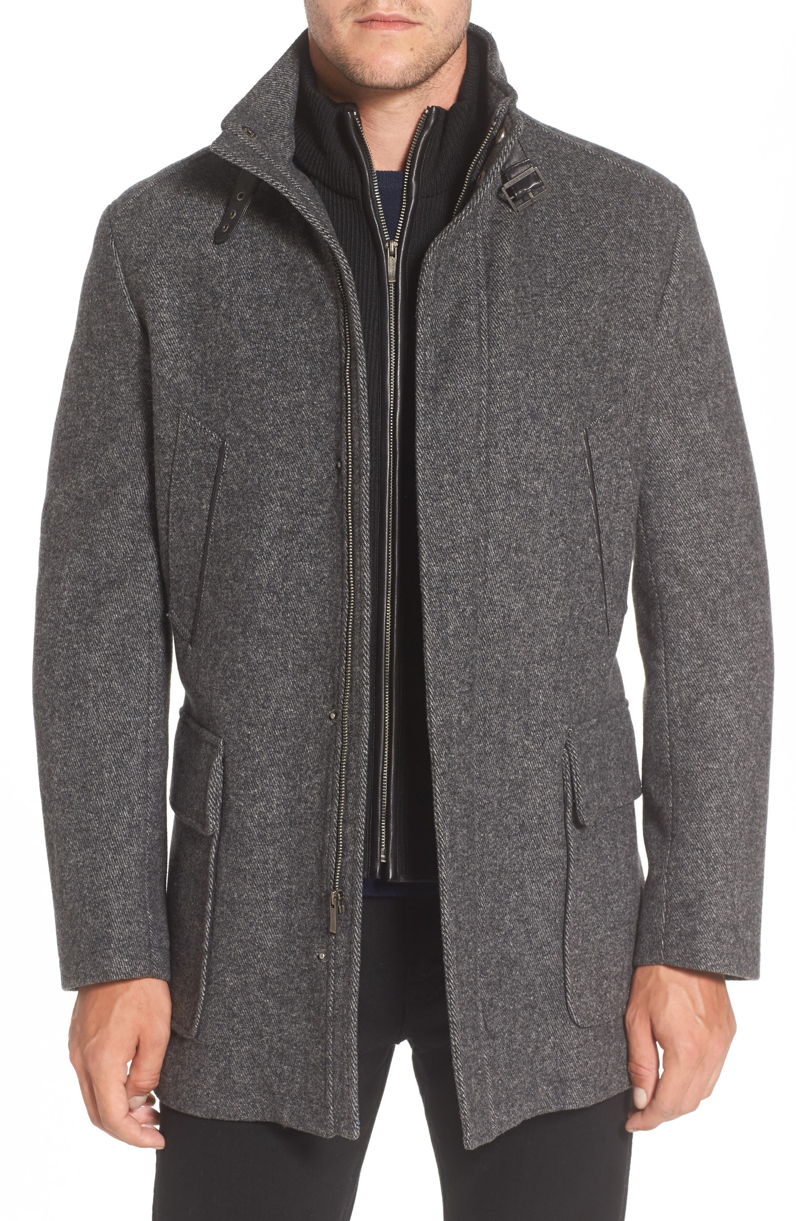 Wool Blend Car Coat with Removable Knit Bib,                         Main,                         color, Melange Graphite