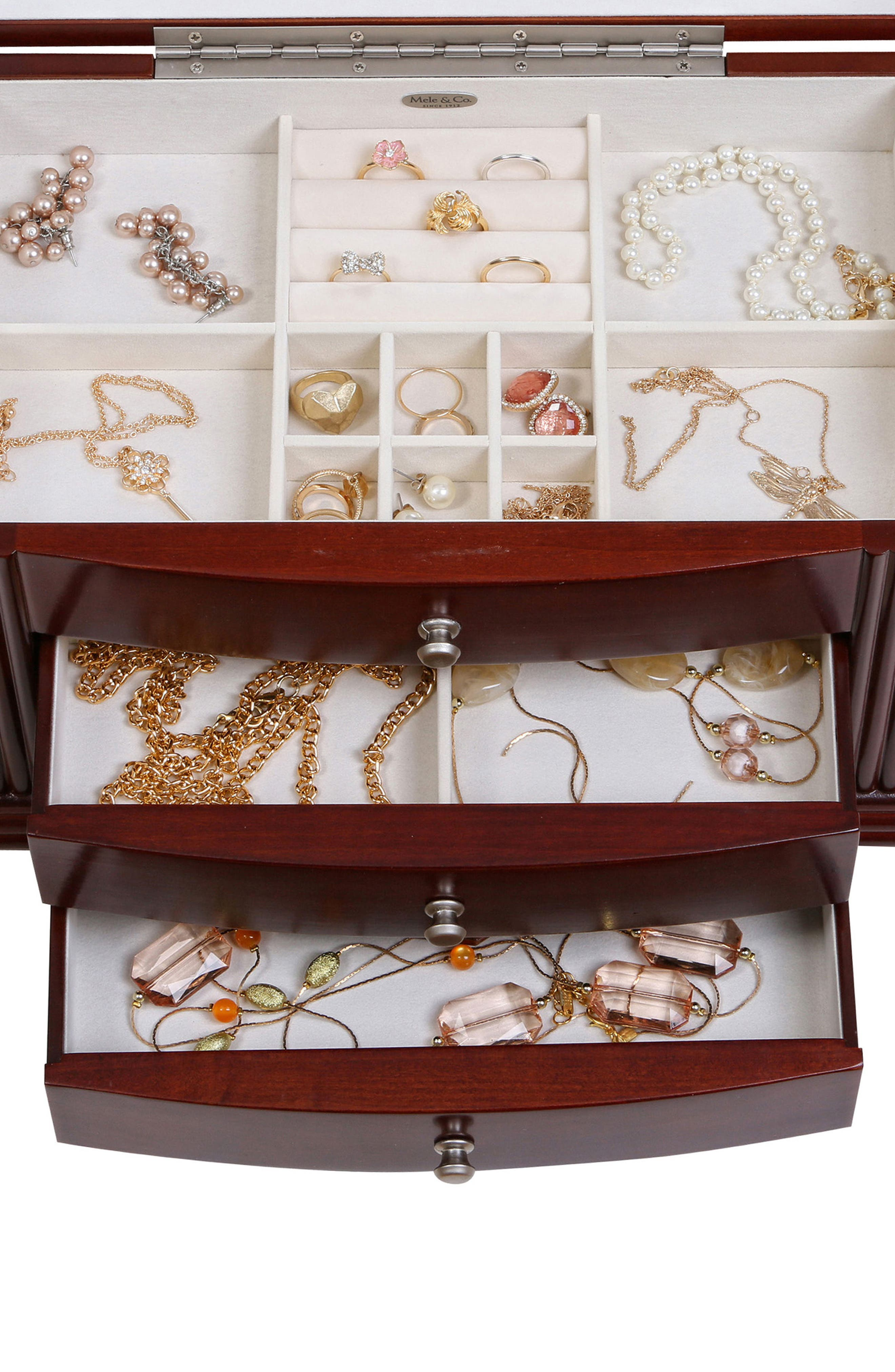 Georgia Wooden Jewelry Box,                             Alternate thumbnail 5, color,                             Brown