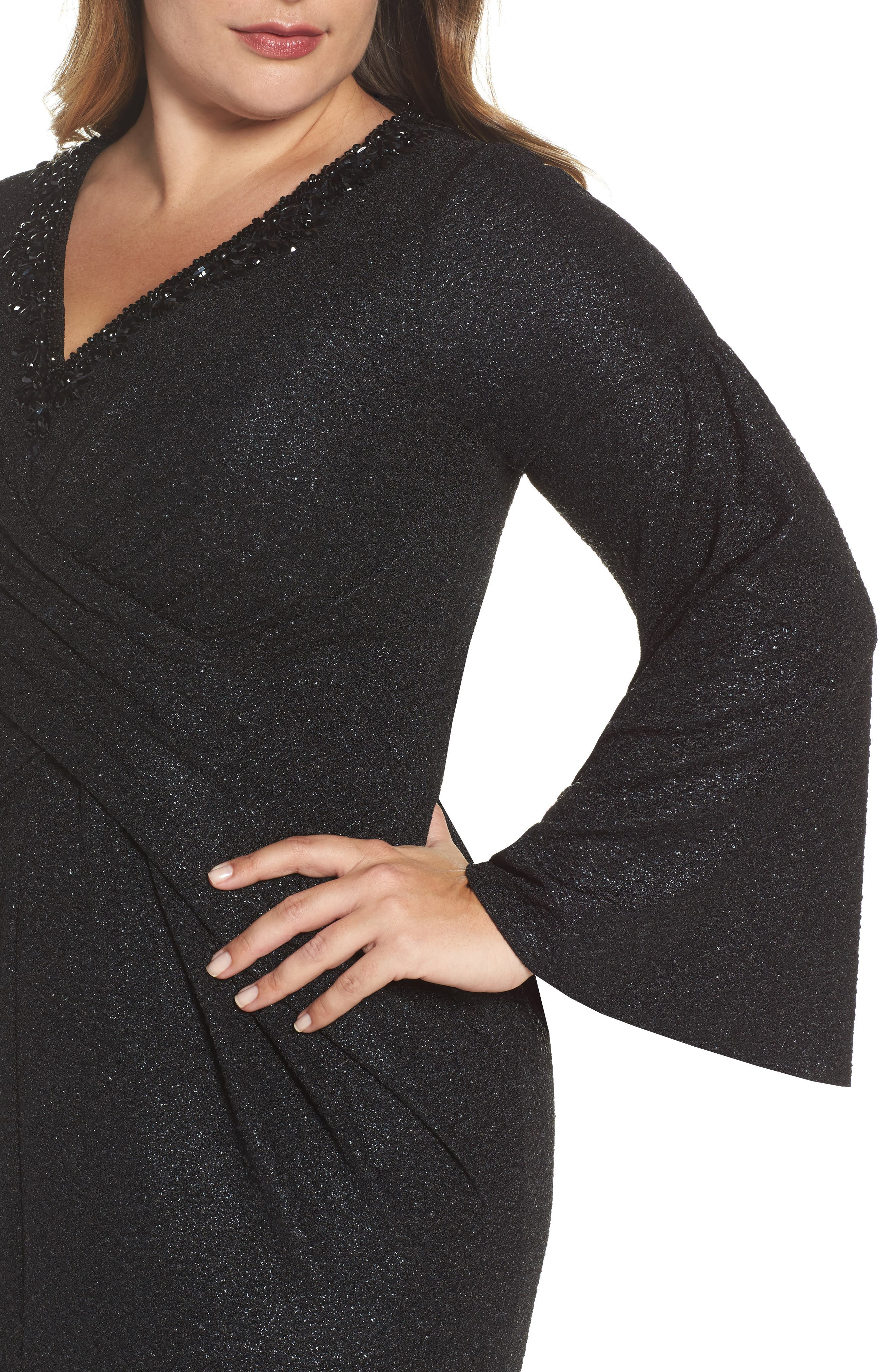 Bell Sleeve Embellished Gown,                             Alternate thumbnail 4, color,                             Black