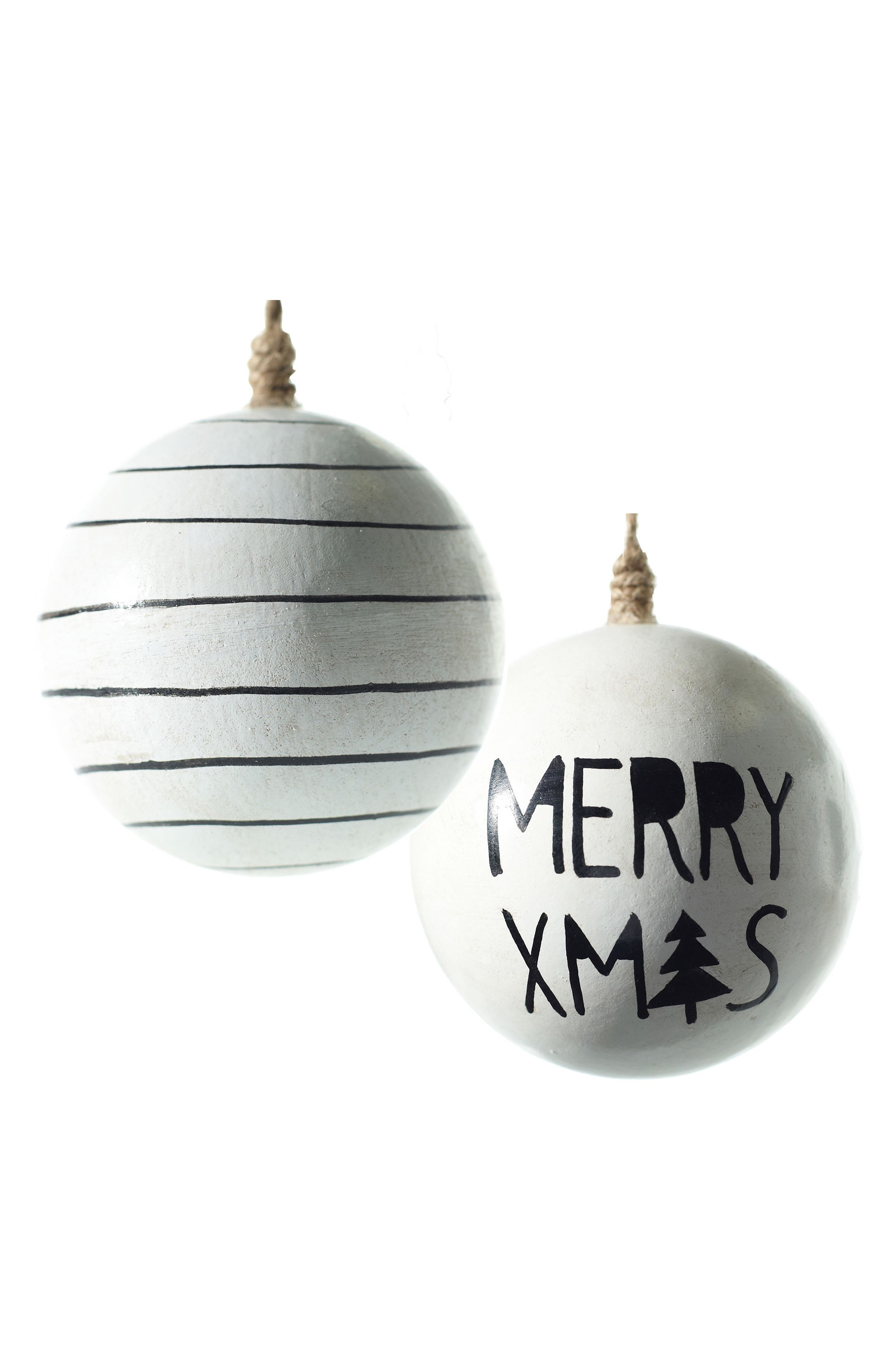 Merry Xmas Set of 2 Wooden Ball Ornaments,                         Main,                         color, White