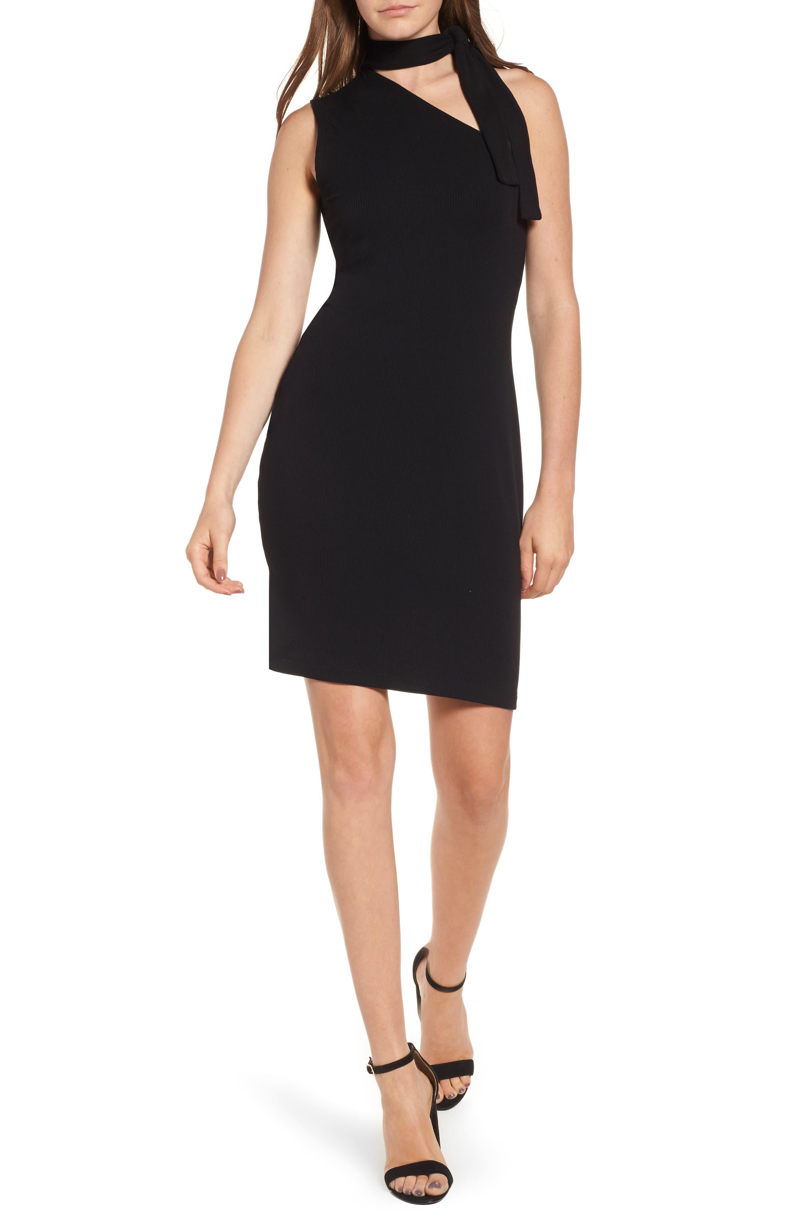 One-Shoulder Body-Con Dress,                         Main,                         color, Rich Black