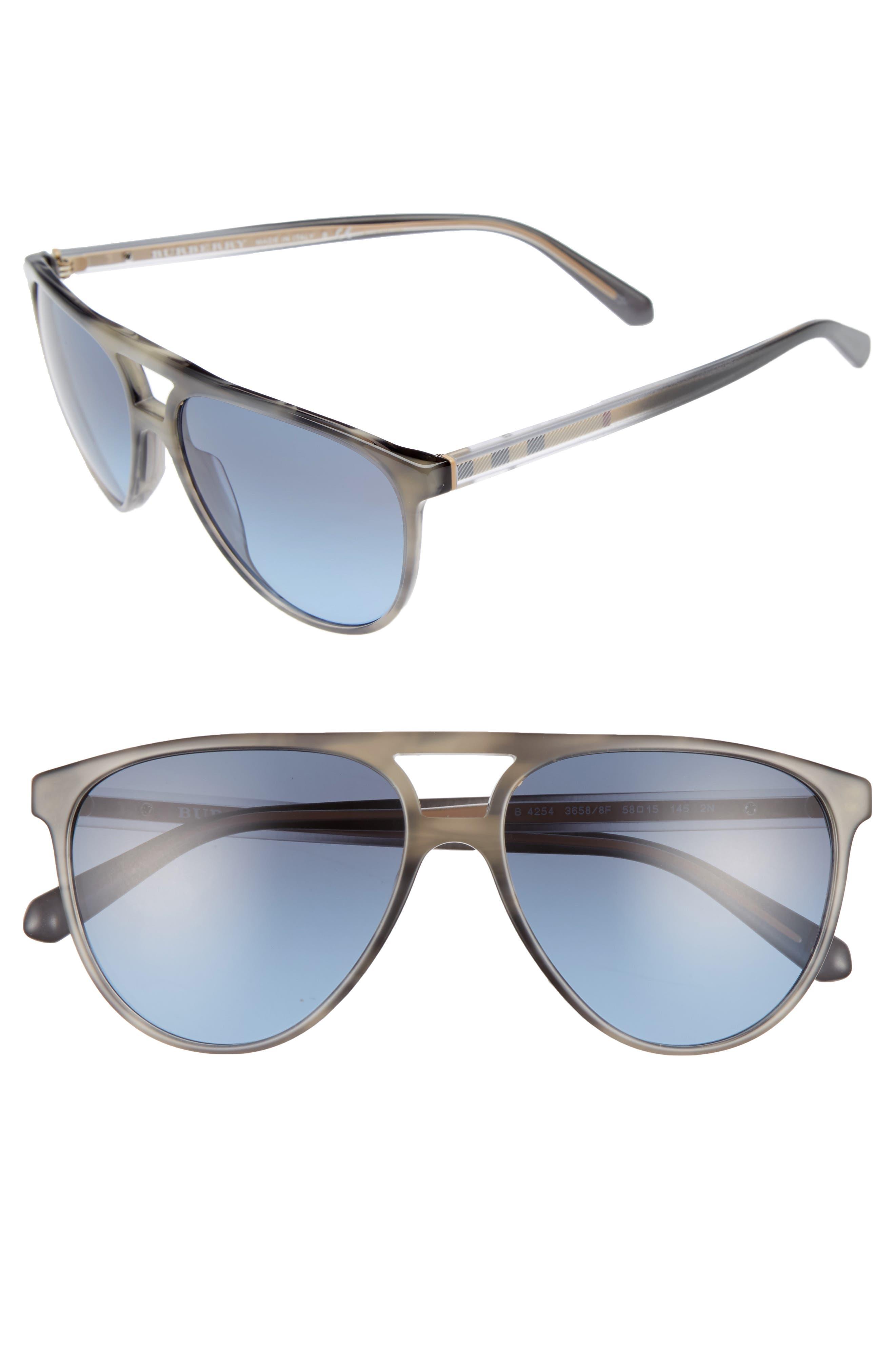 58mm Aviator Sunglasses,                         Main,                         color, Grey/ Blue