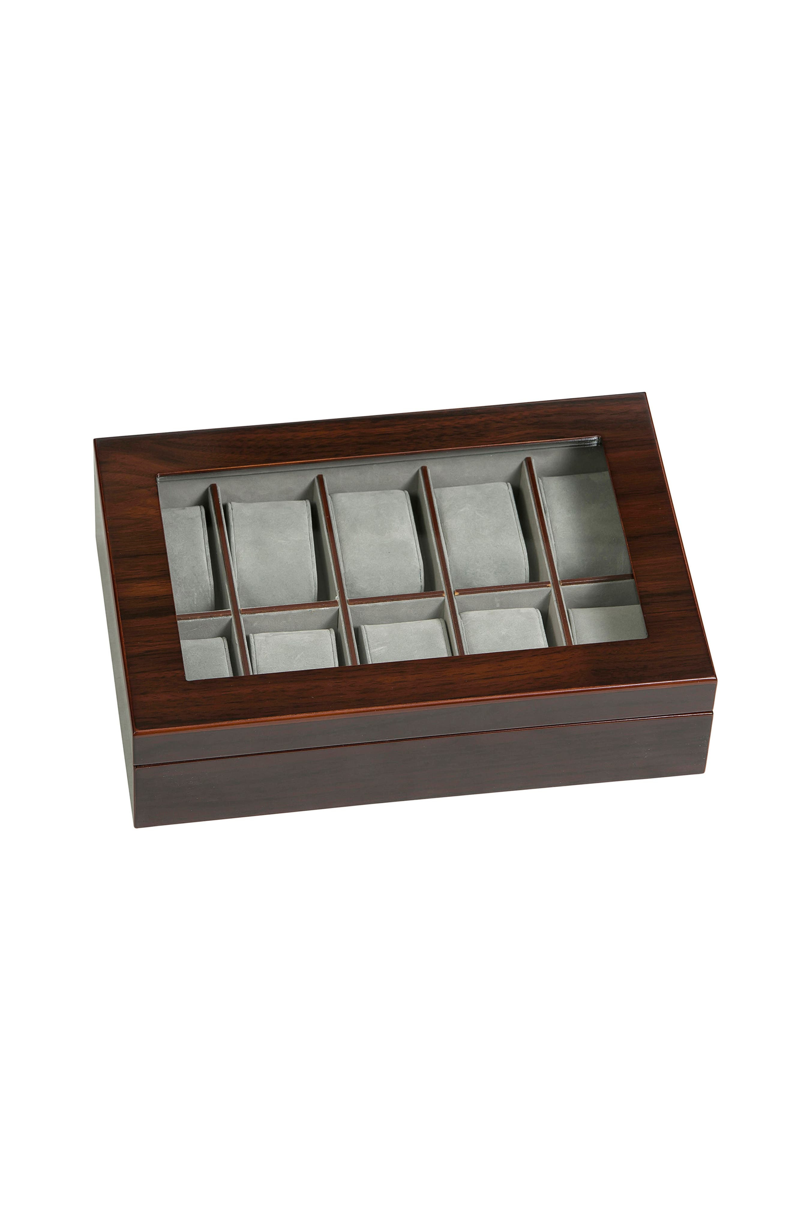 Hudson Glass Top Watch Box,                         Main,                         color, Brown