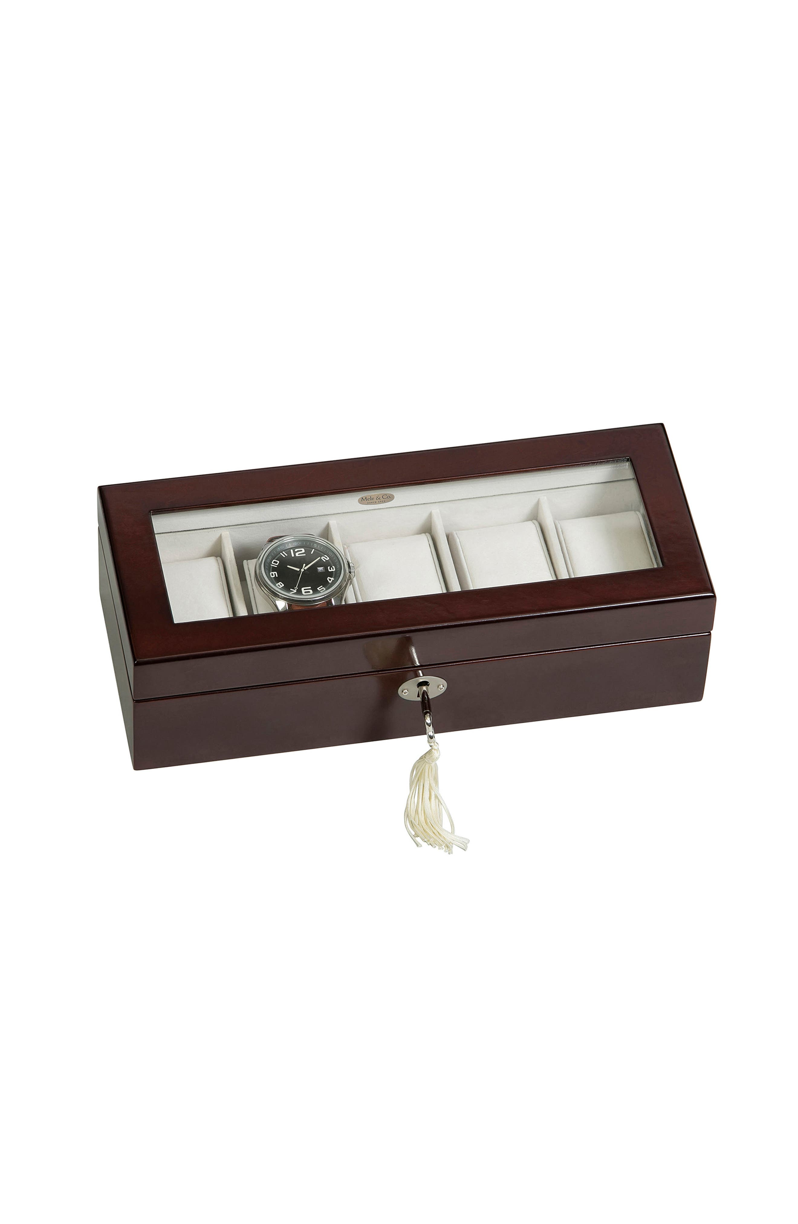Macon Locking Watch Box,                             Alternate thumbnail 4, color,                             Brown