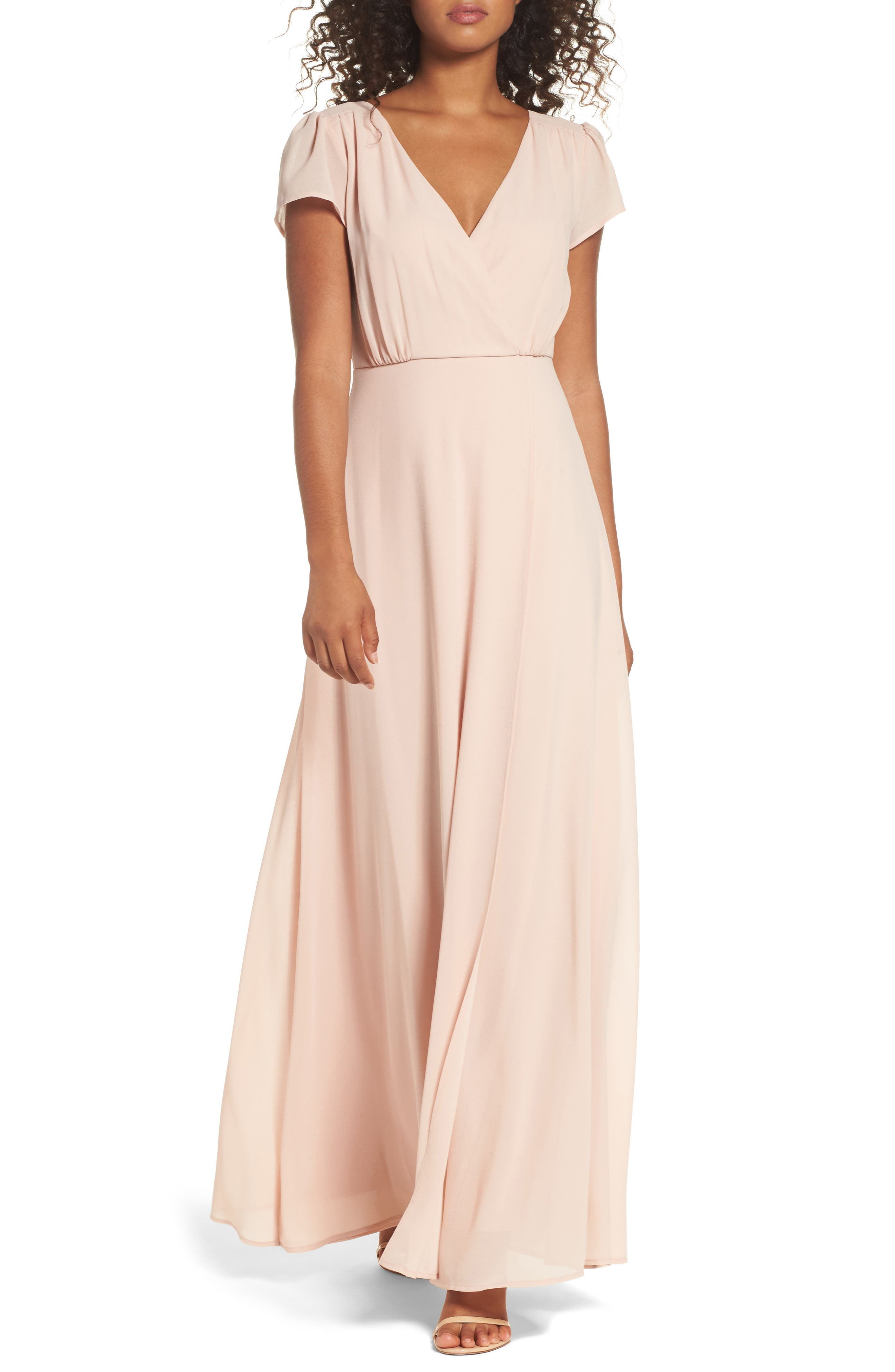 Lace-Up Back Chiffon Gown,                             Main thumbnail 1, color,                             Nude Blush