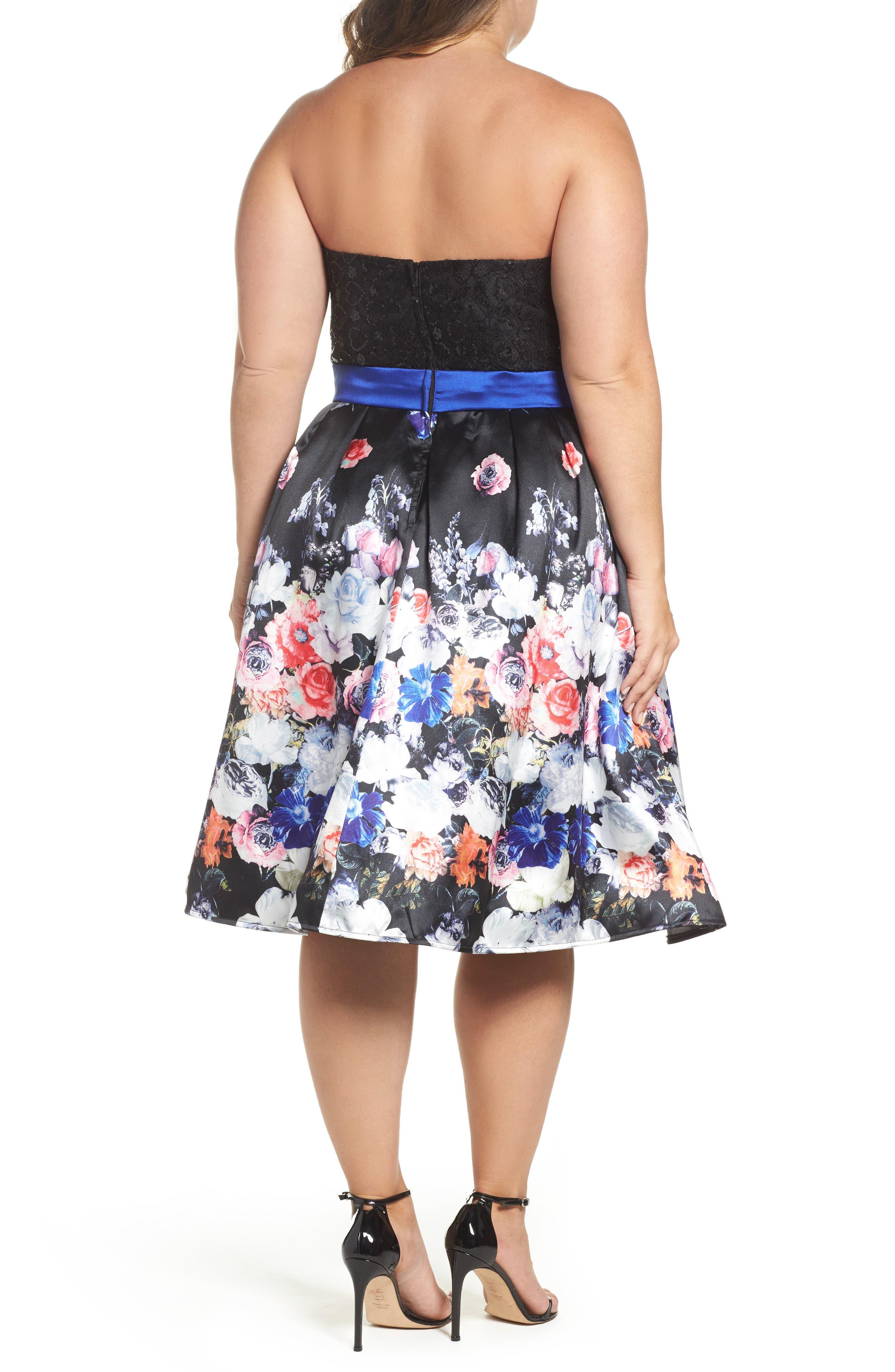 Floral Print Strapless Fit & Flare Dress,                             Alternate thumbnail 2, color,                             Black/ Multi