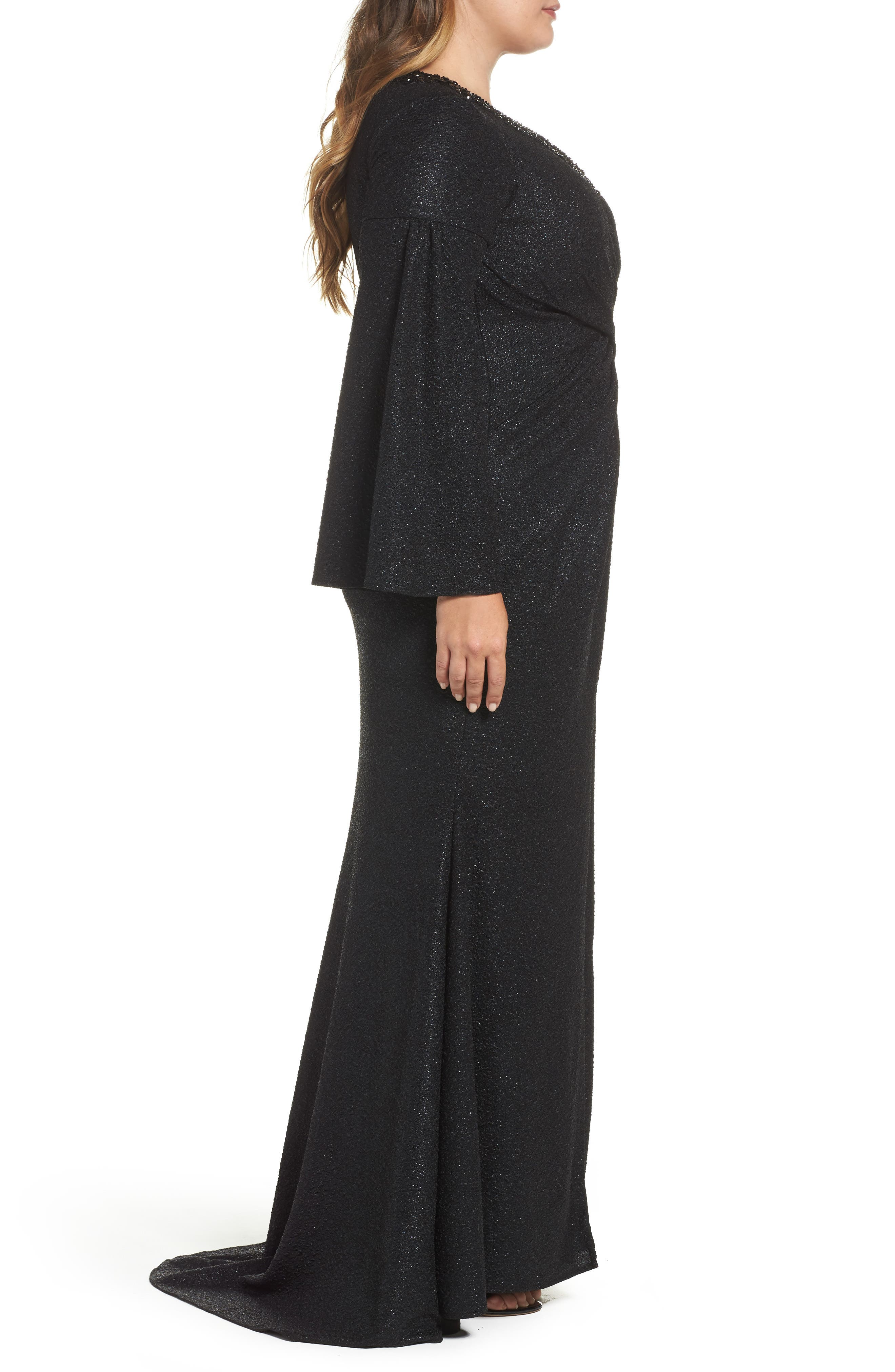 Bell Sleeve Embellished Gown,                             Alternate thumbnail 3, color,                             Black