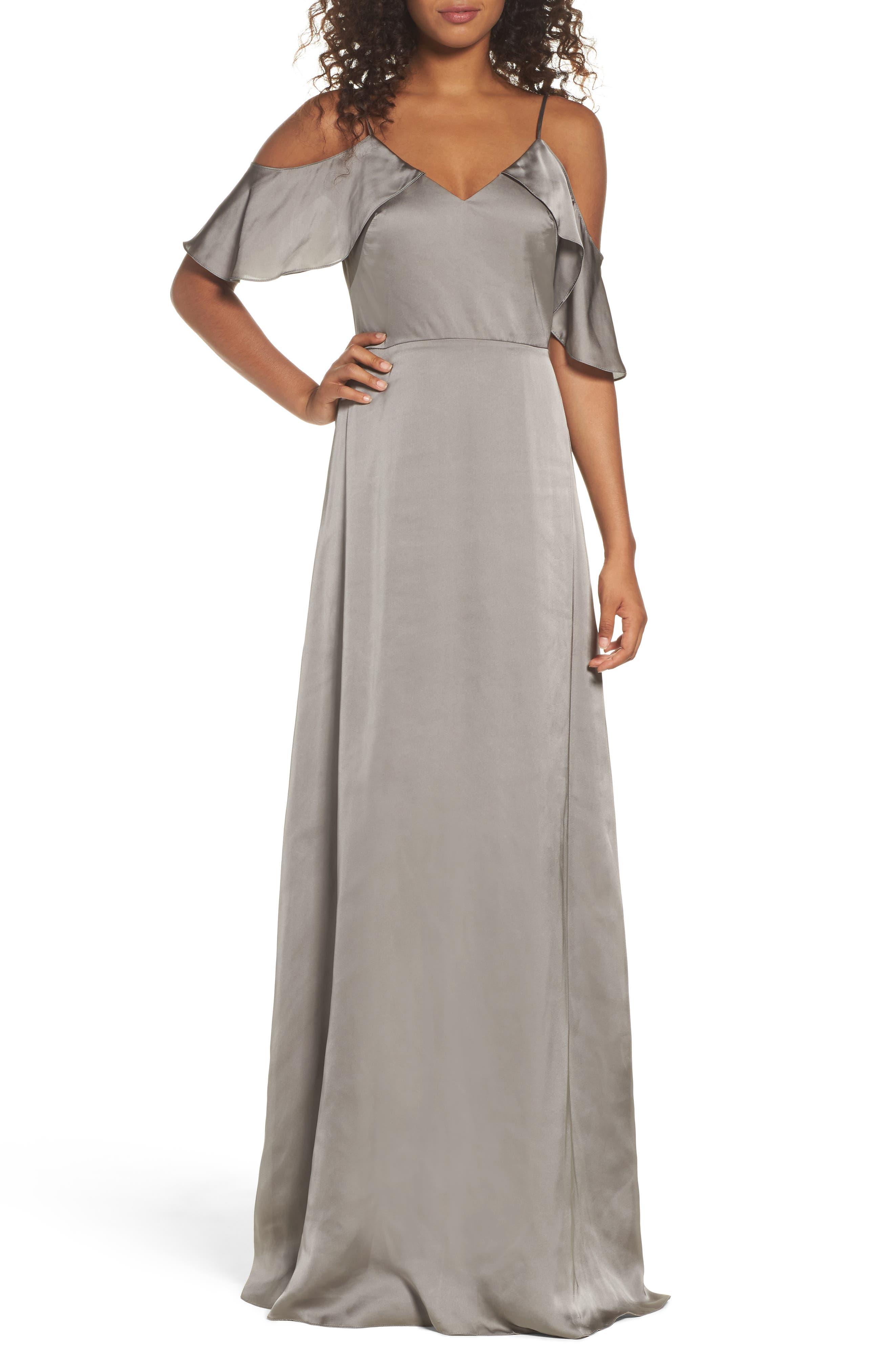 Monique Lhuillier Bridesmaids Isabel Sateen Cold Shoulder Gown