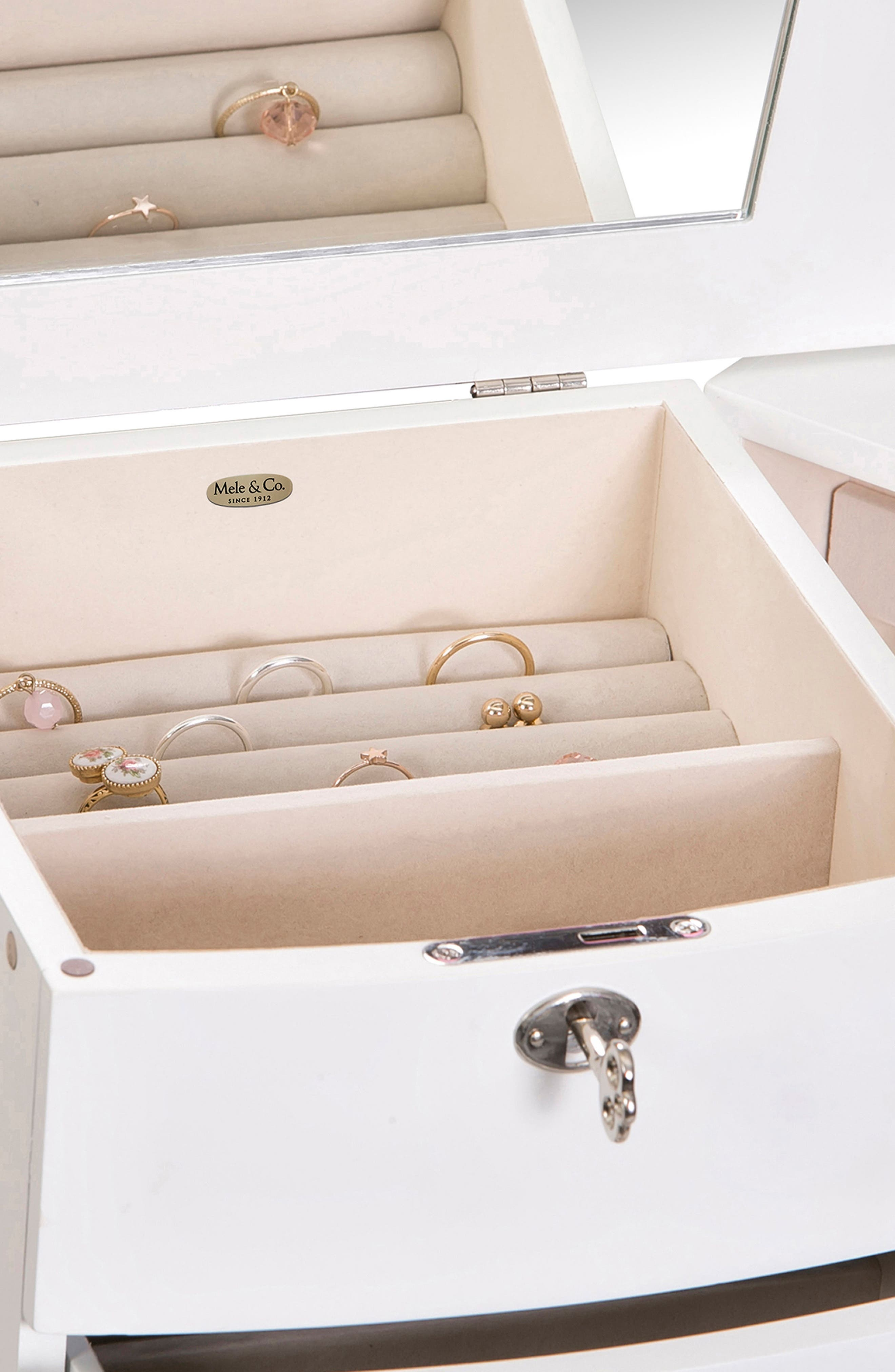 Hadley Jewelry Armoire,                             Alternate thumbnail 8, color,                             White