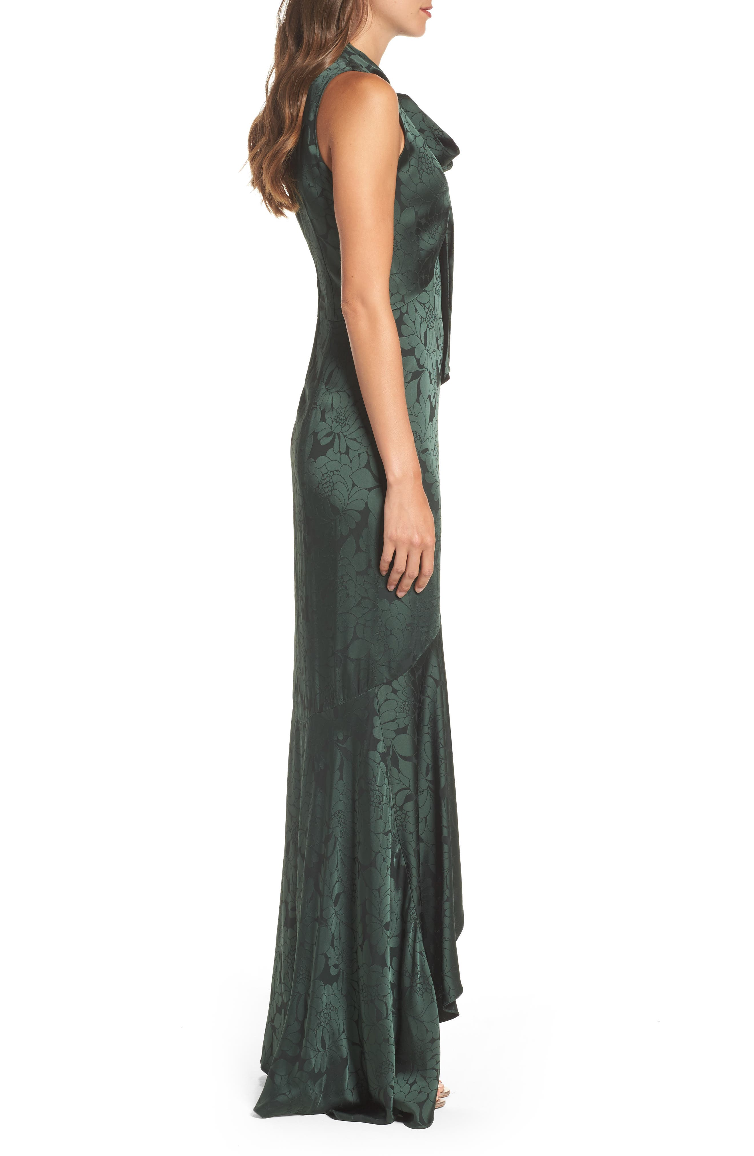Mayburn Jacquard High/Low Gown,                             Alternate thumbnail 3, color,                             Dark Green