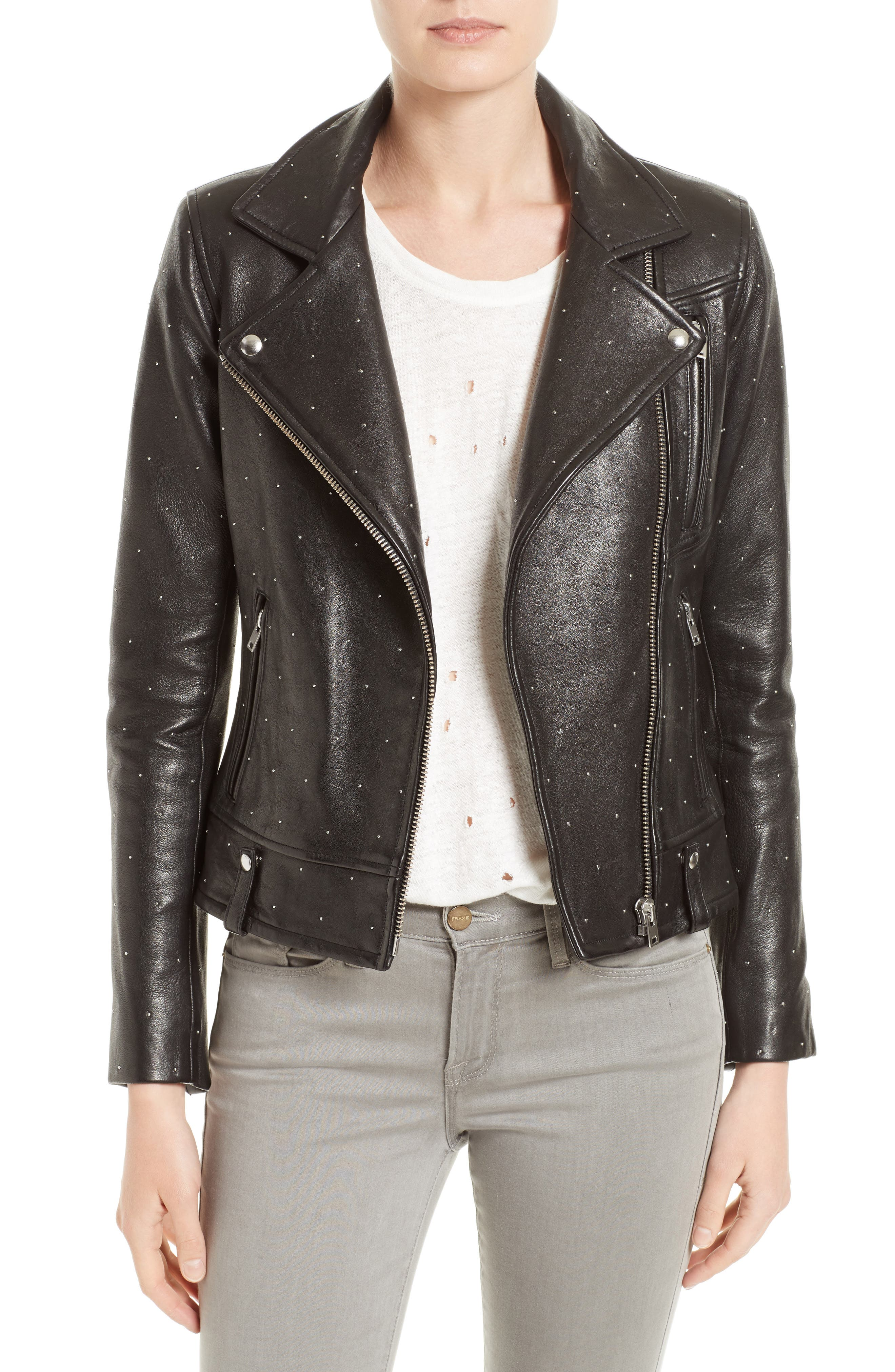 Vamy Studded Leather Moto Jacket,                         Main,                         color, Black
