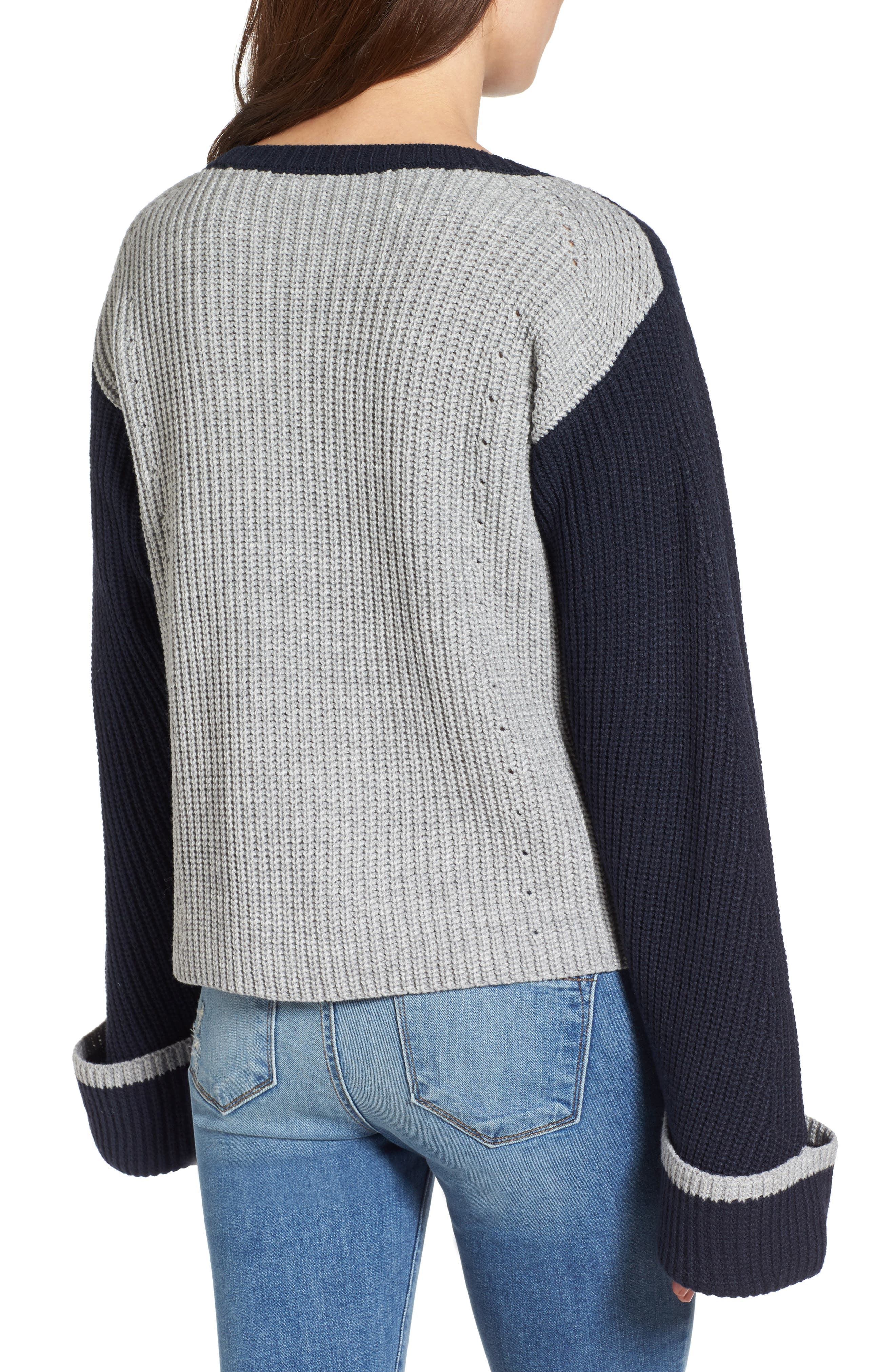Alternate Image 2  - Love by Design Colorblock Bell Sleeve Sweater