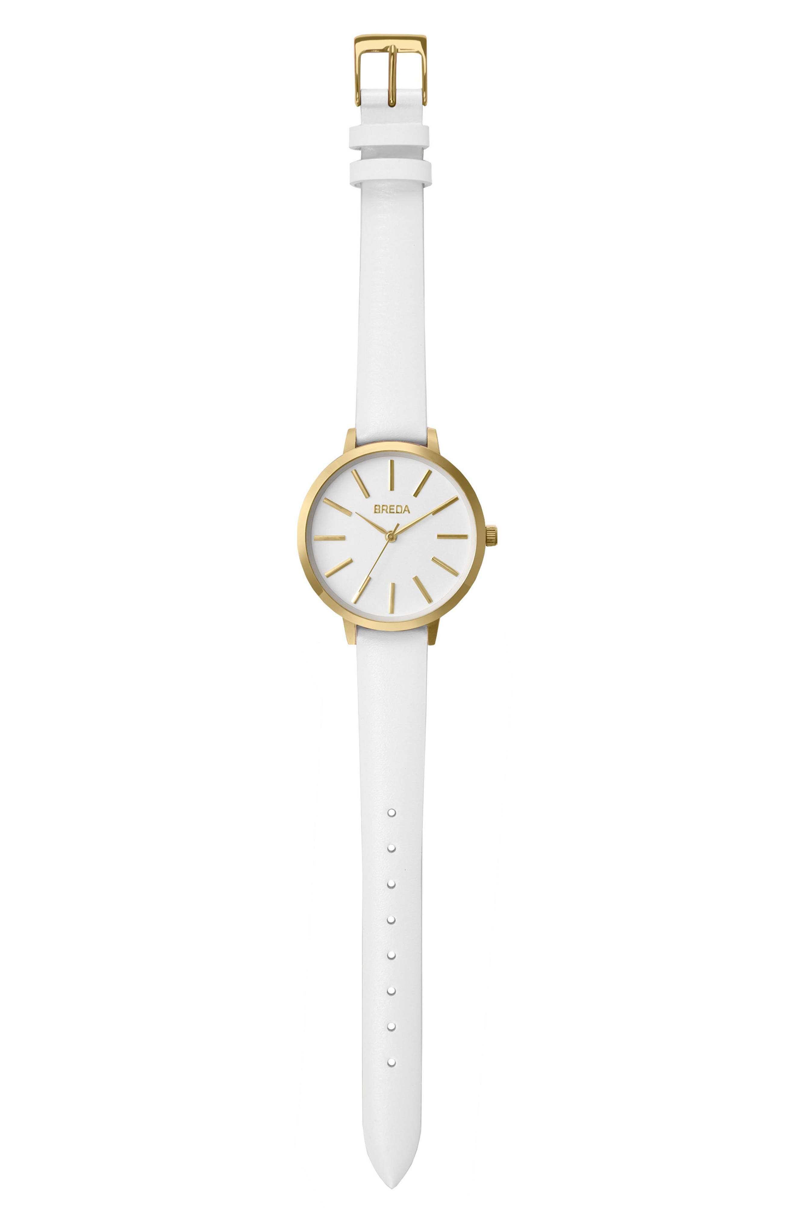 Joule Round Leather Strap Watch, 37mm,                             Alternate thumbnail 3, color,                             White/ Gold