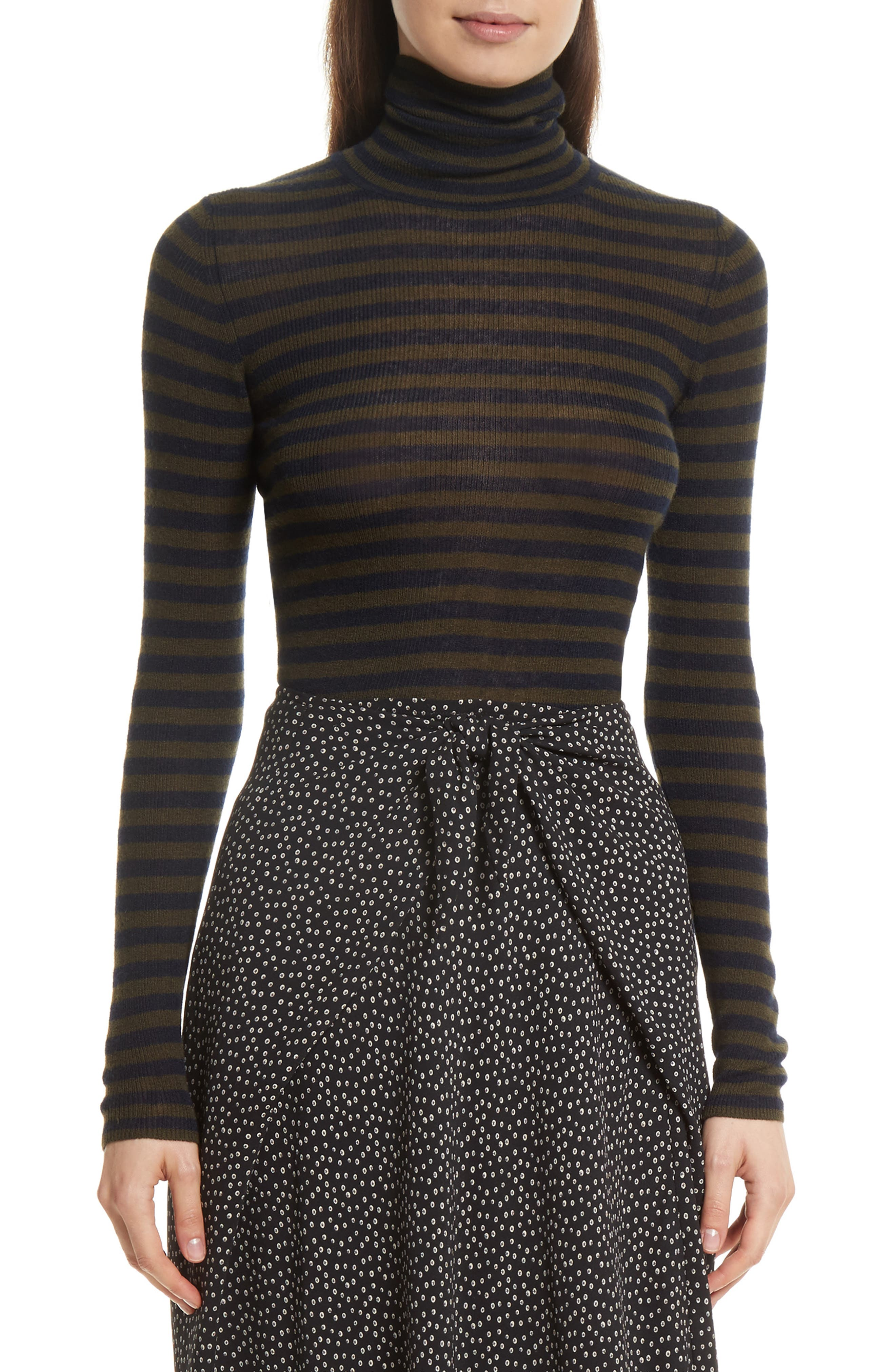 Vince Stripe Ribbed Turtleneck
