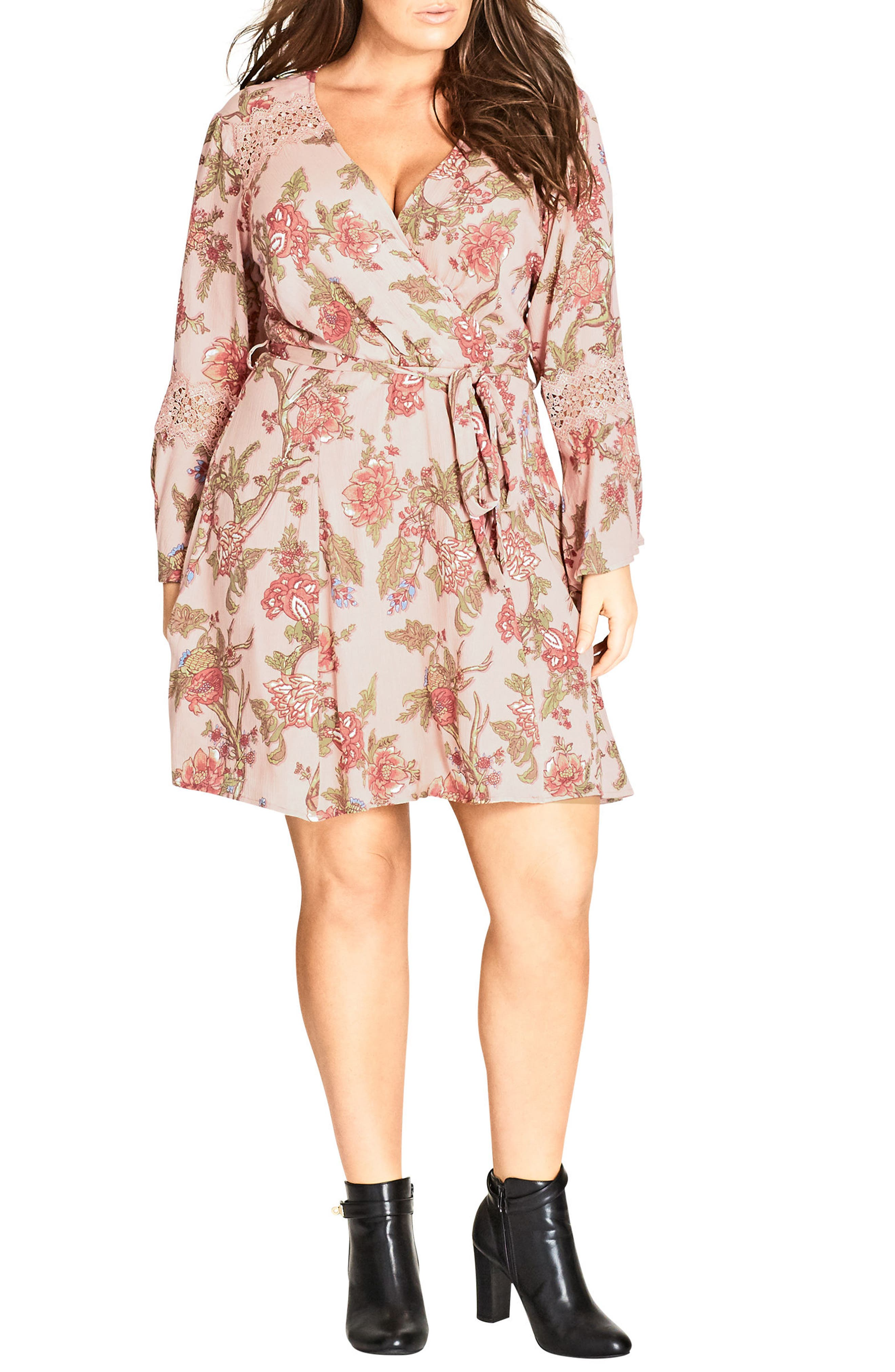 City Chic Floral Print Wrap Dress (Plus Size)