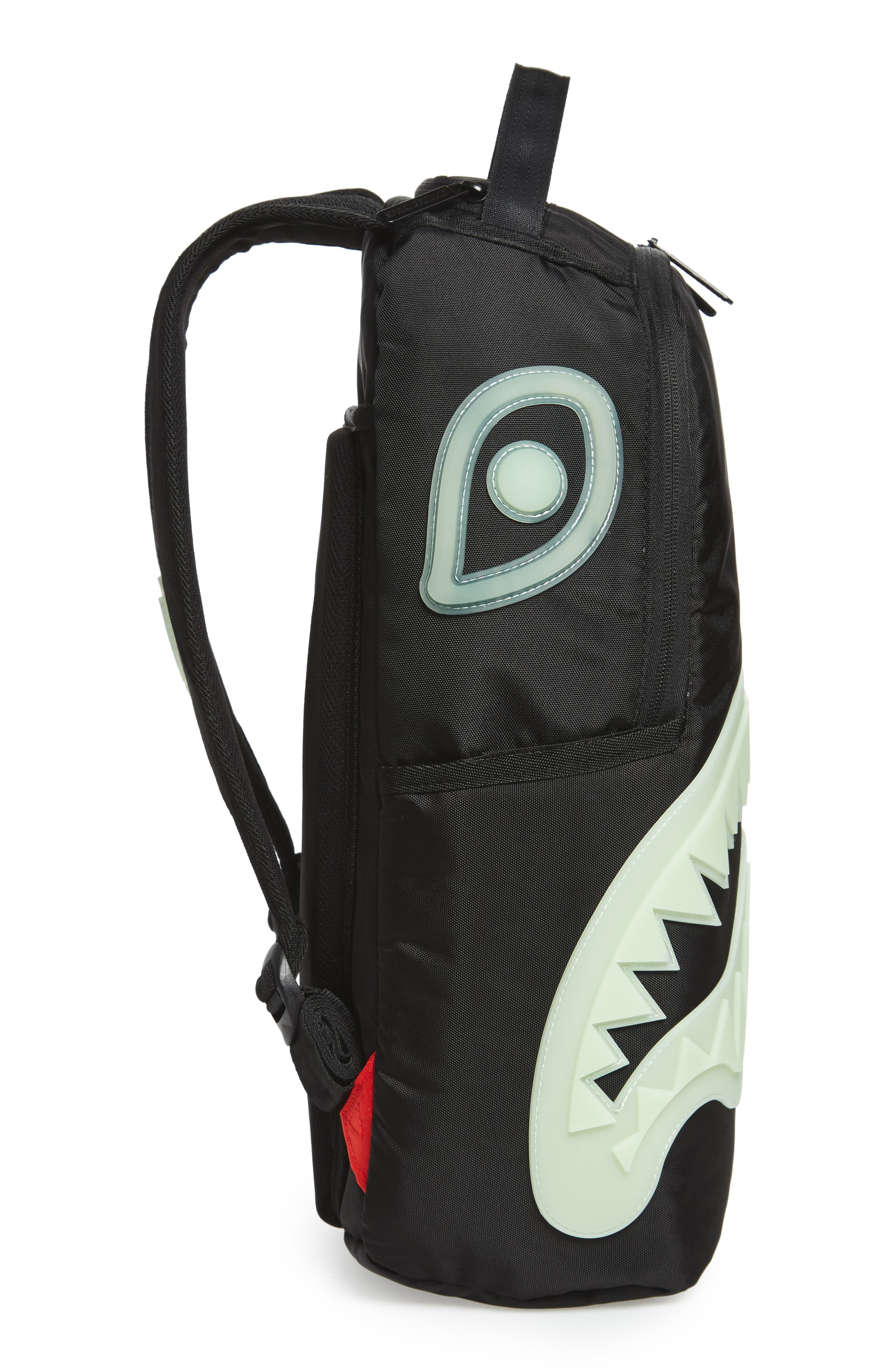 Glow in the Dark Shark Backpack,                             Alternate thumbnail 4, color,                             Black