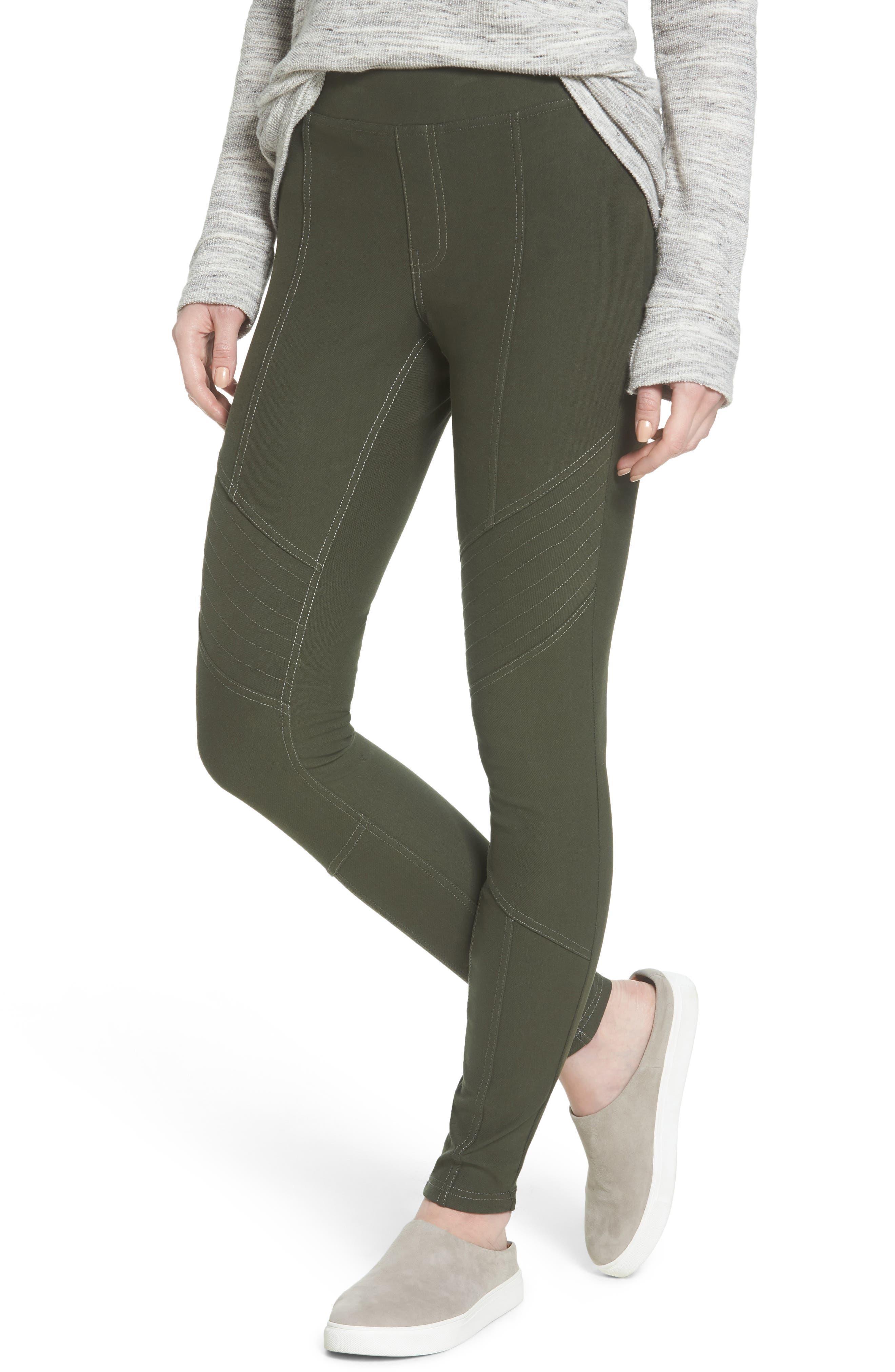 Essential Denim Moto Leggings,                         Main,                         color, Olive
