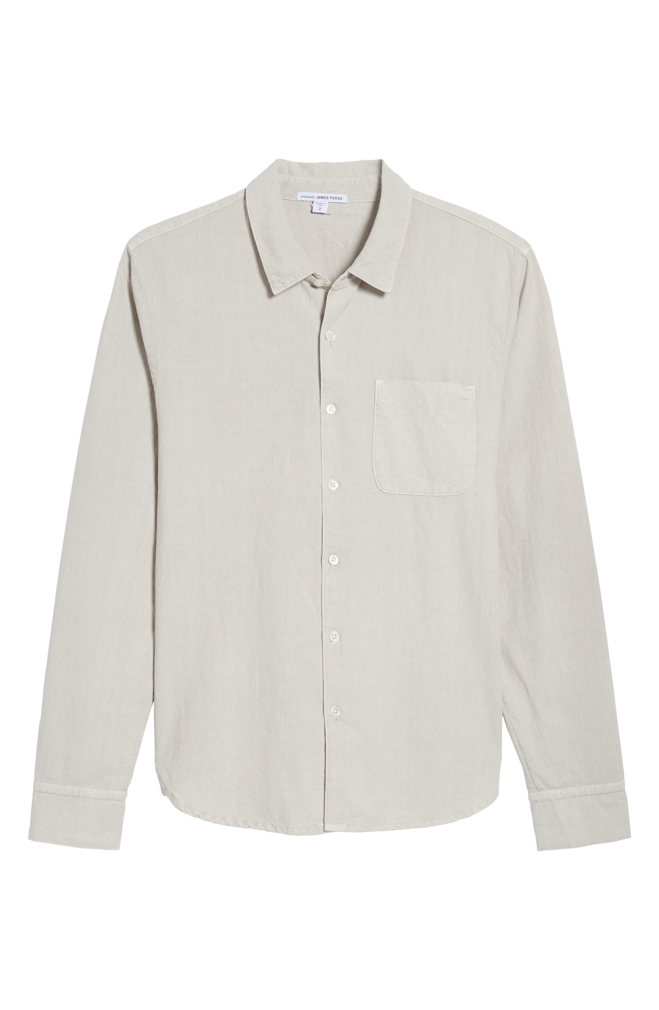 Slim Cotton Sport Shirt,                             Alternate thumbnail 5, color,                             Concrete Dust Pigment