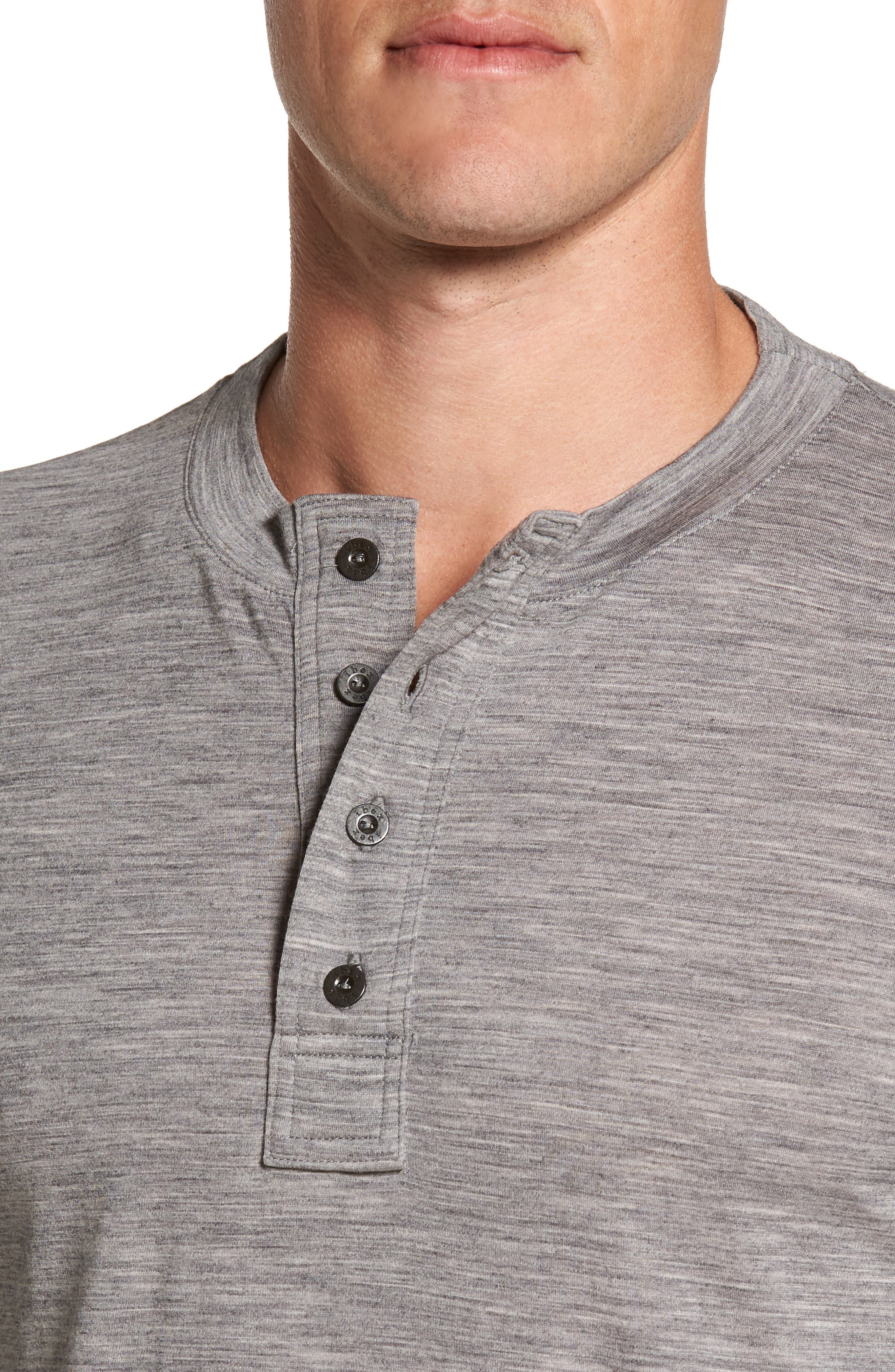 Odyssey Merino Wool Blend Henley,                             Alternate thumbnail 4, color,                             Stone Grey Heather