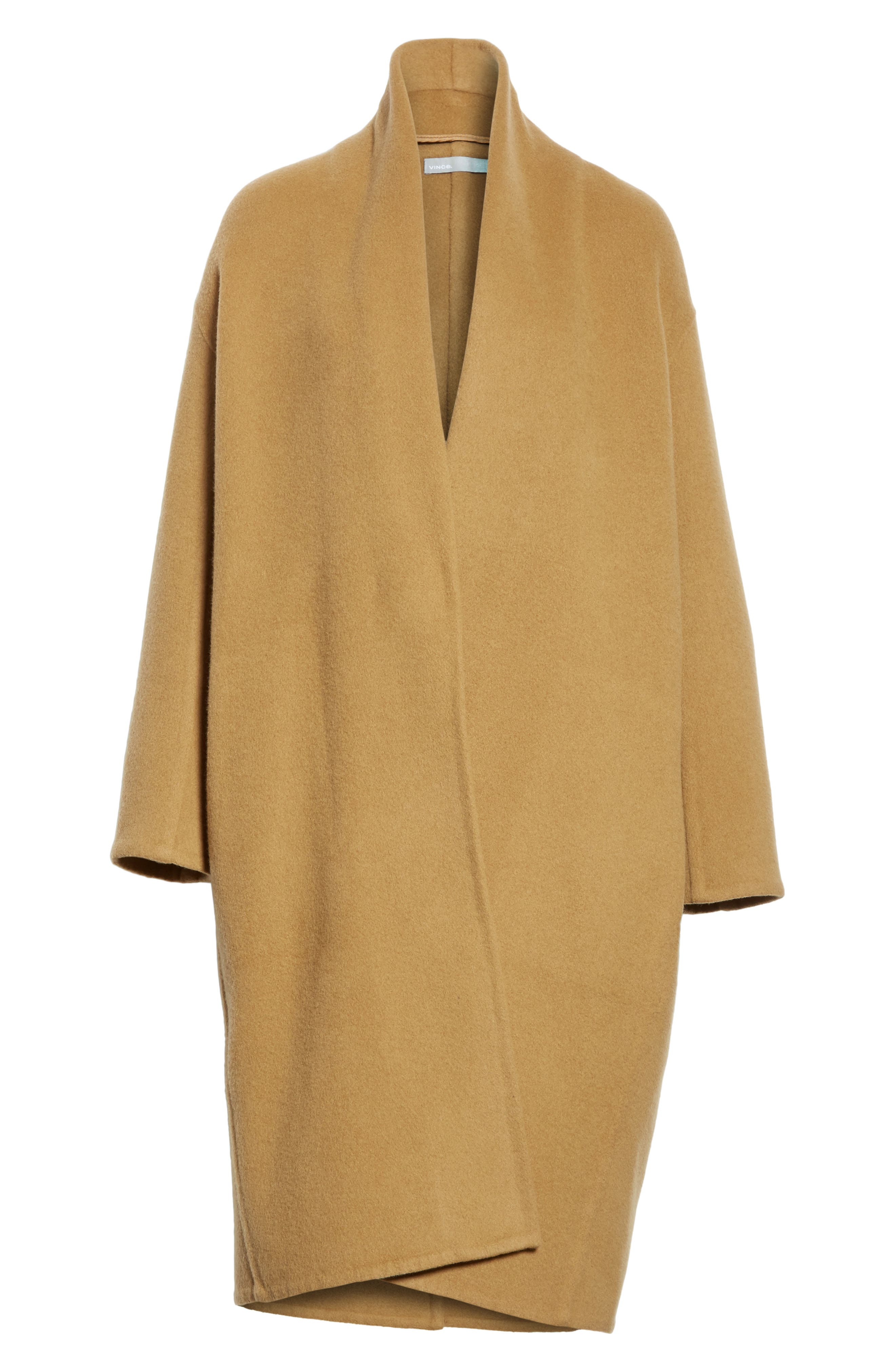 High Collar Long Wool Blend Coat,                             Alternate thumbnail 6, color,                             Camel