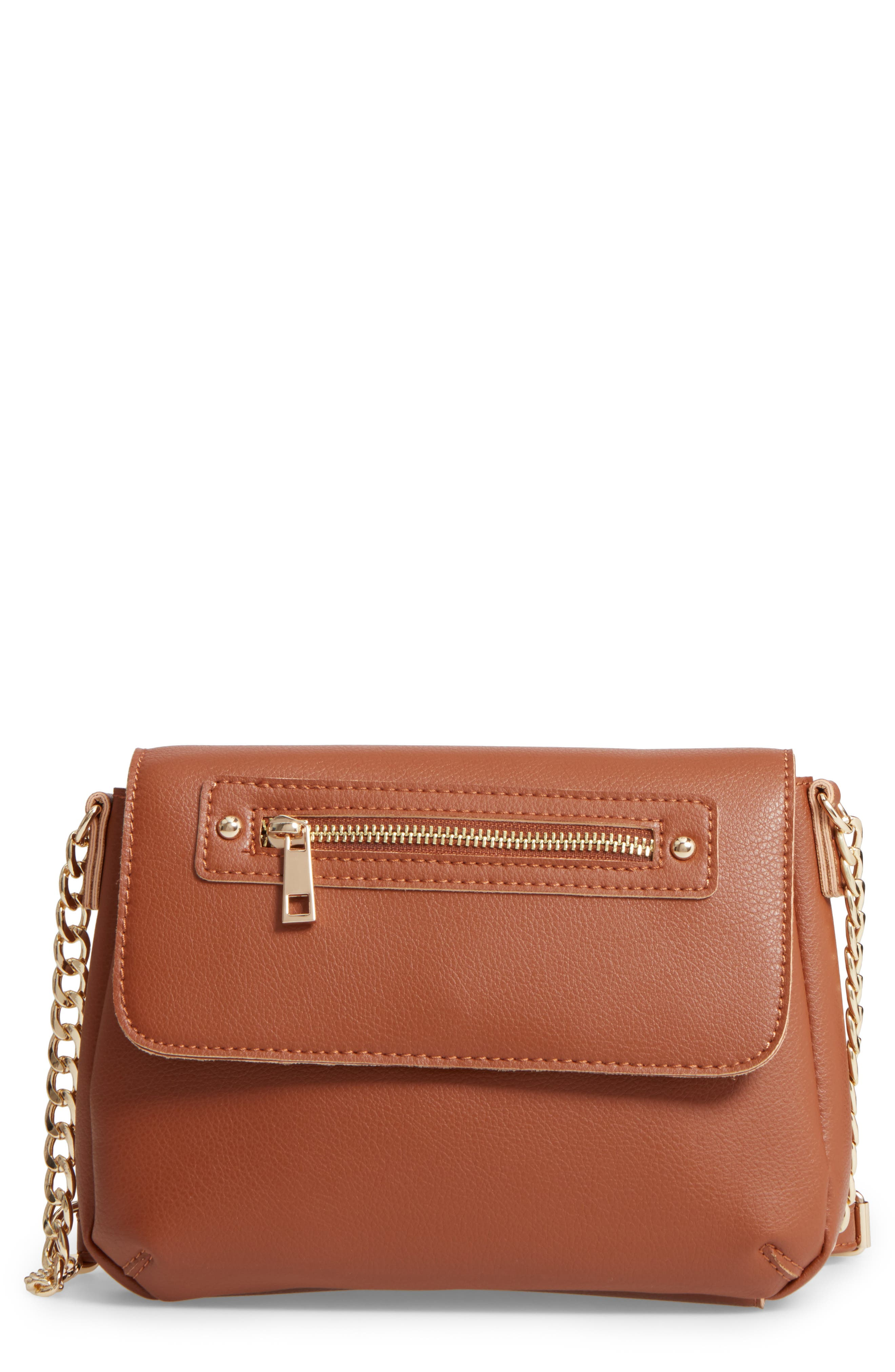 BP. Faux Leather Zip Flap Crossbody Bag