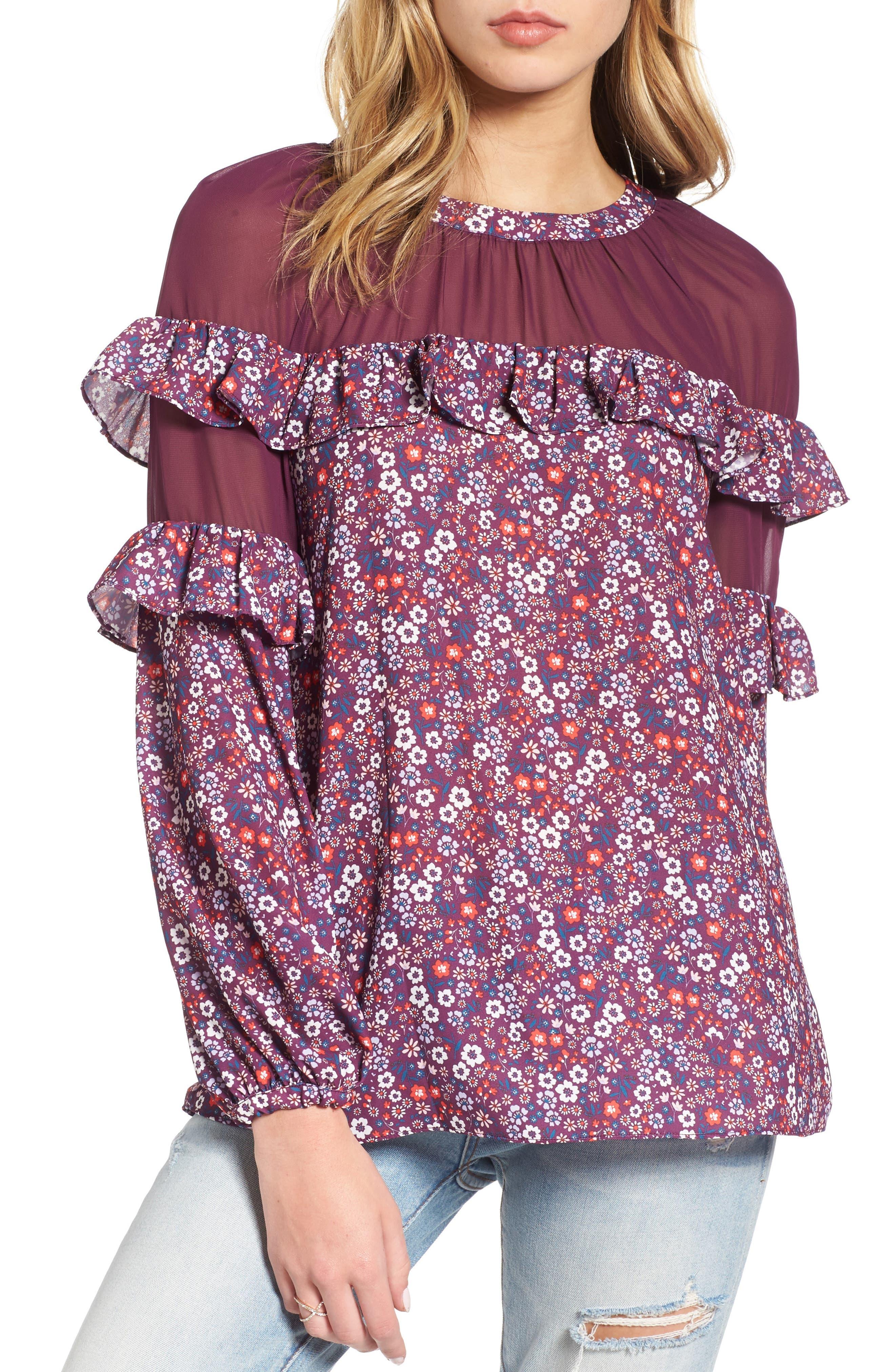 Heidi Ruffle Blouse,                         Main,                         color, Magnolia