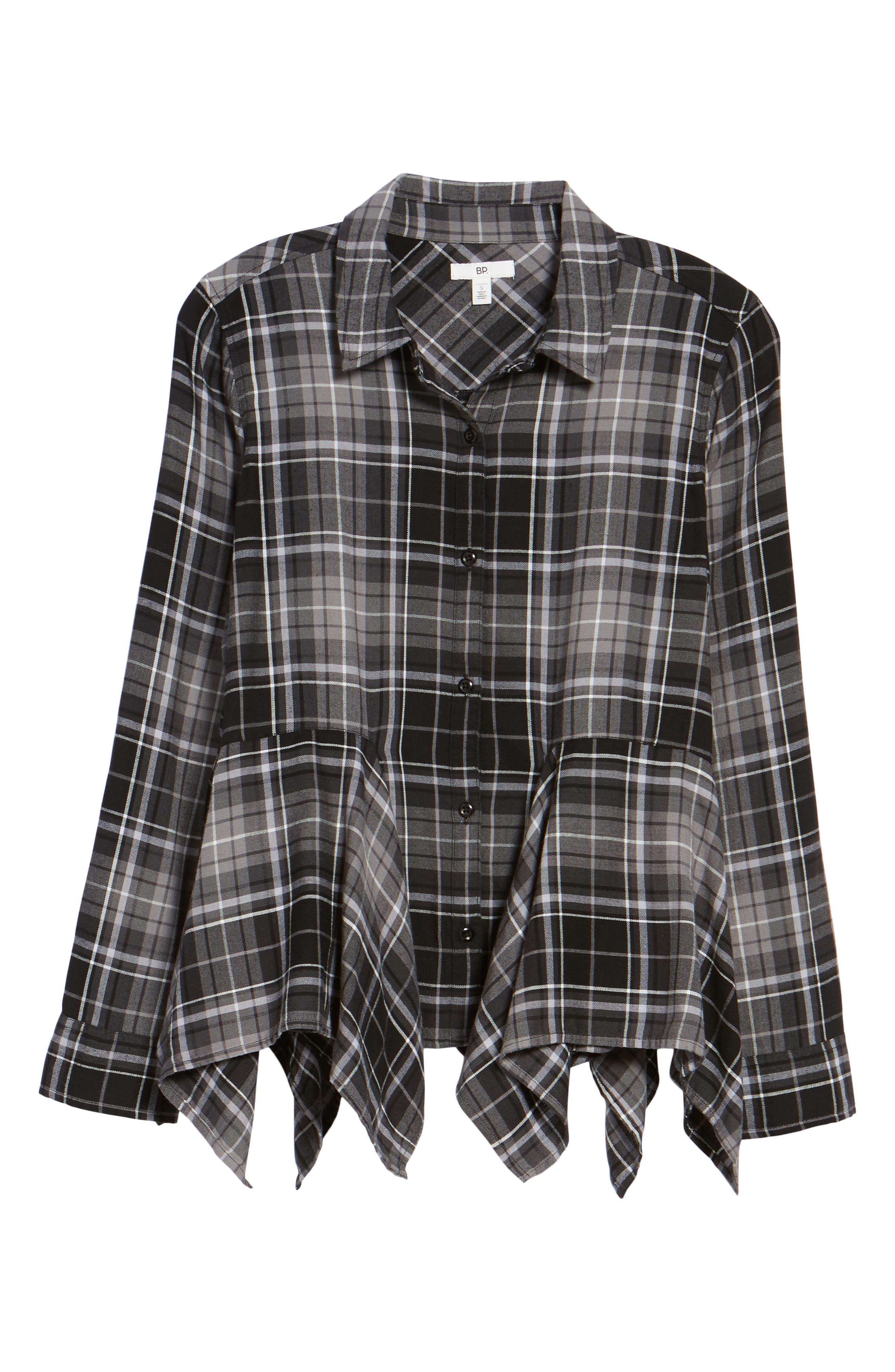 Plaid Godet Detail Shirt,                             Alternate thumbnail 6, color,                             Black Evie Plaid