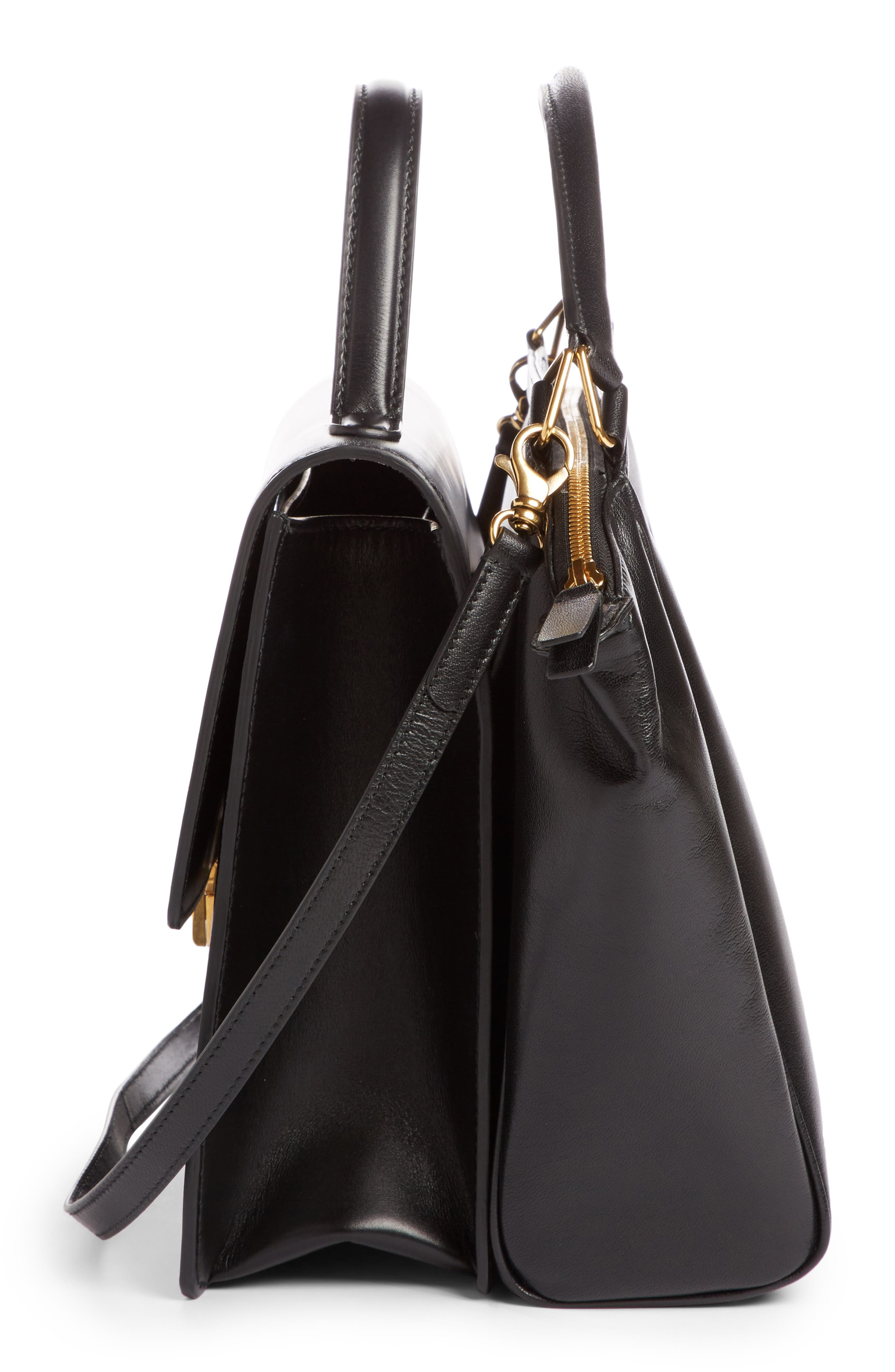 Collage Double Calfskin Leather Bag,                             Alternate thumbnail 3, color,                             Noir