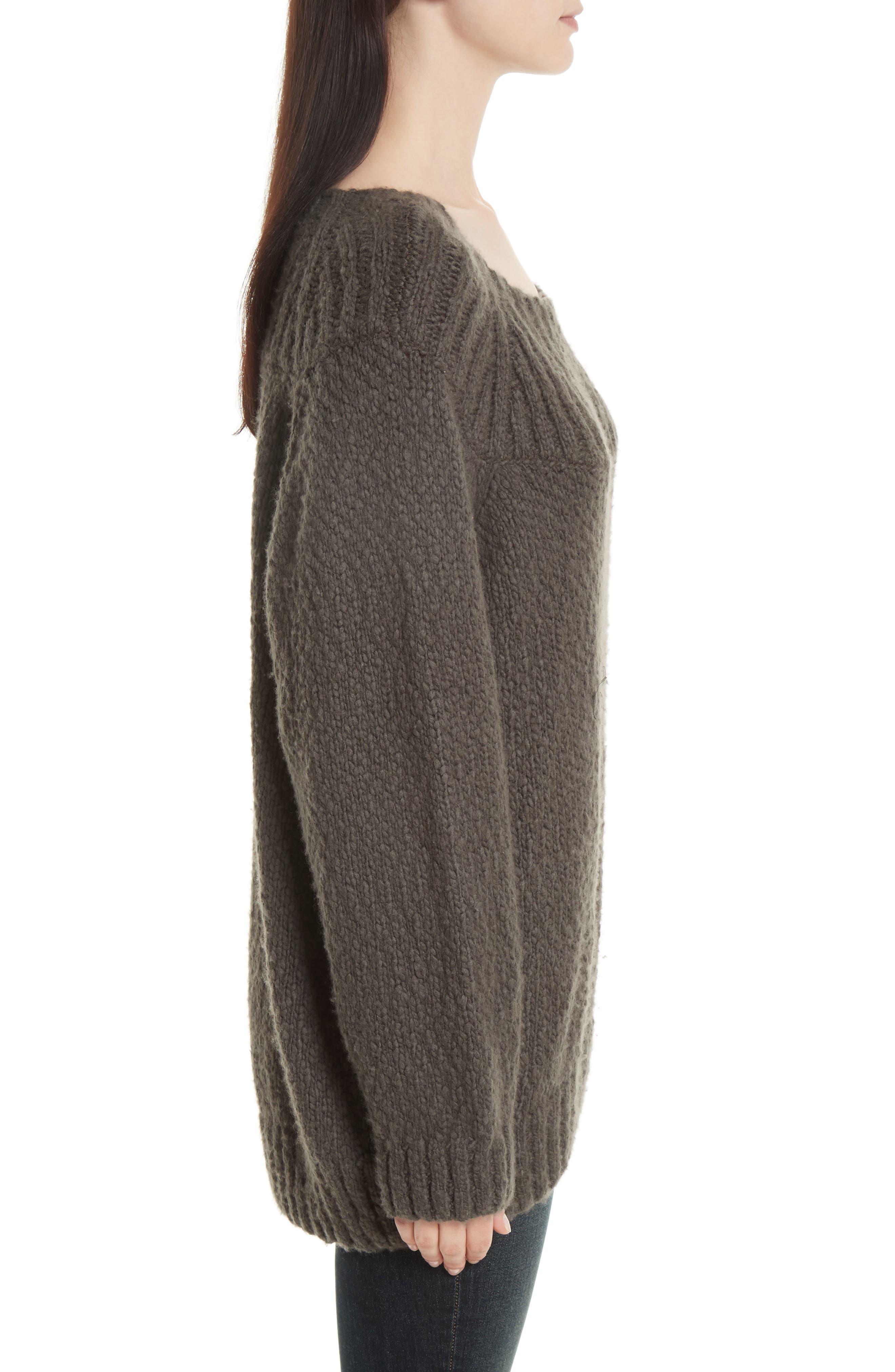 Ribbed Yoke Knit Sweater,                             Alternate thumbnail 3, color,                             Graphite
