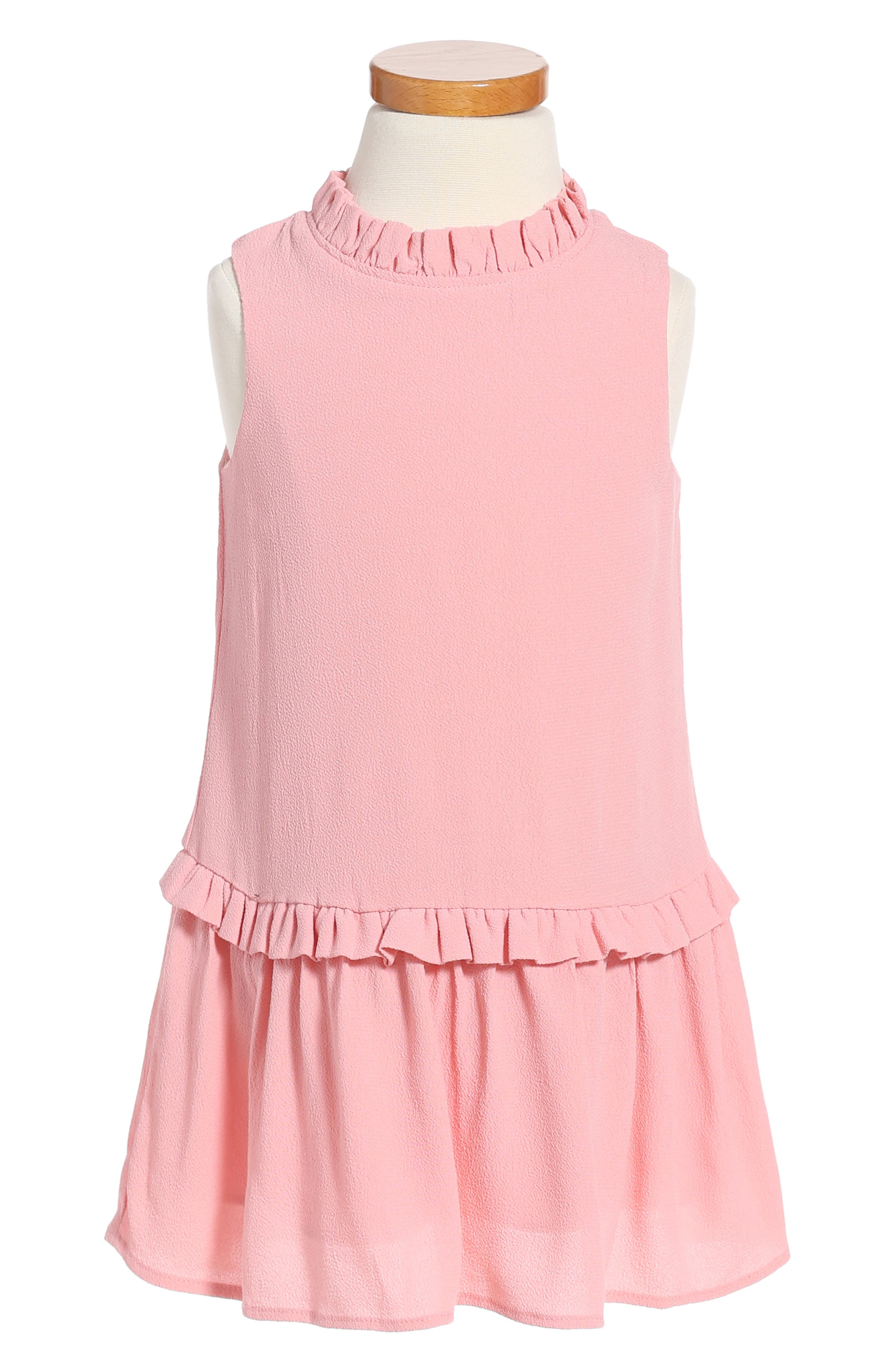 ruffle collar dress,                         Main,                         color, Rosebud