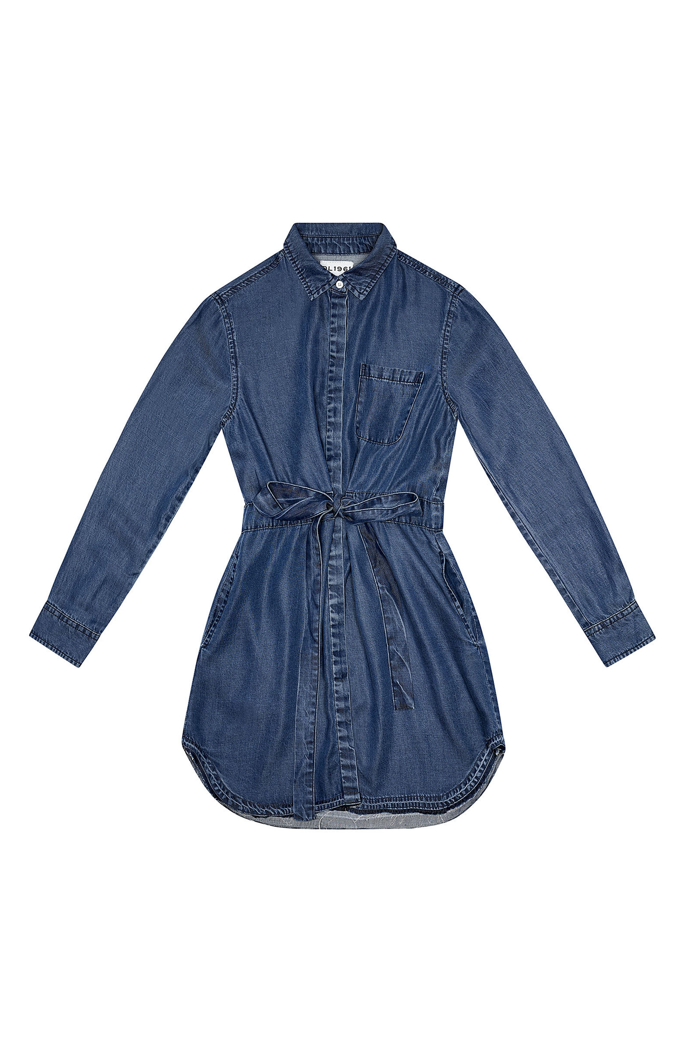 Alternate Image 1 Selected - DL1961 Chambray Shirtdress (Big Girls)