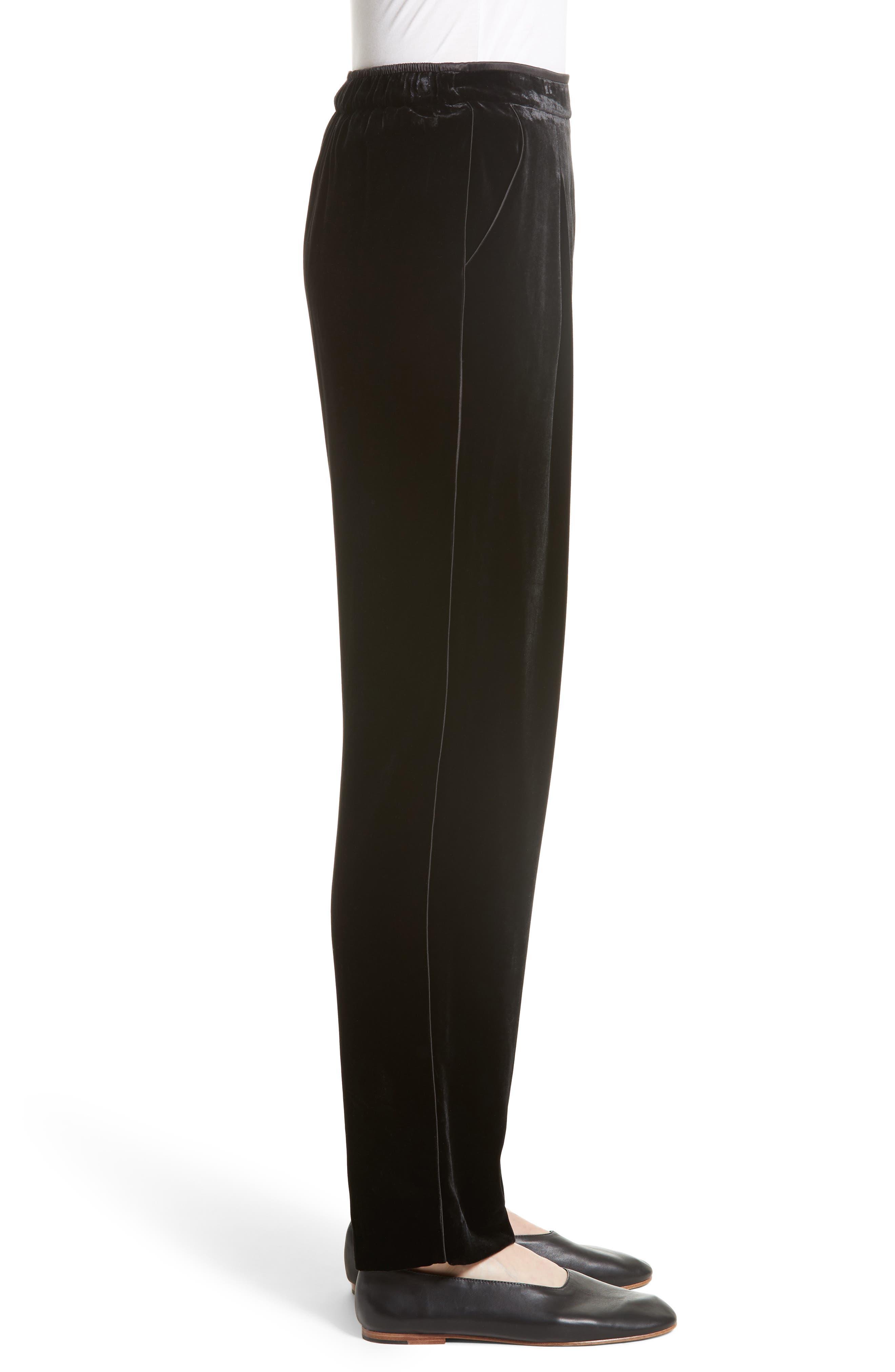 Soho Velvet Track Pants,                             Alternate thumbnail 3, color,                             Black