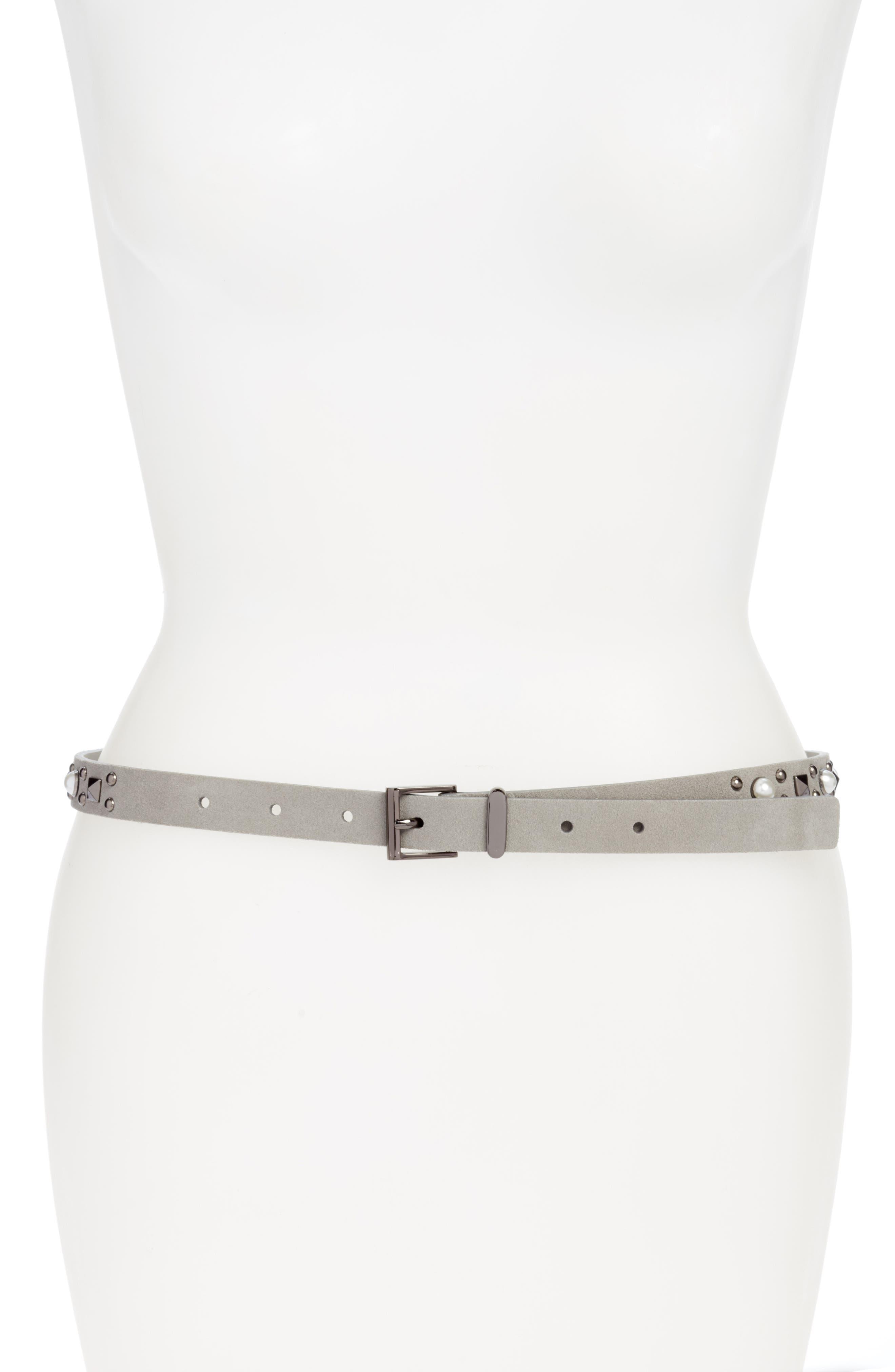 Halogen® Imitation Pearl Studded Skinny Belt