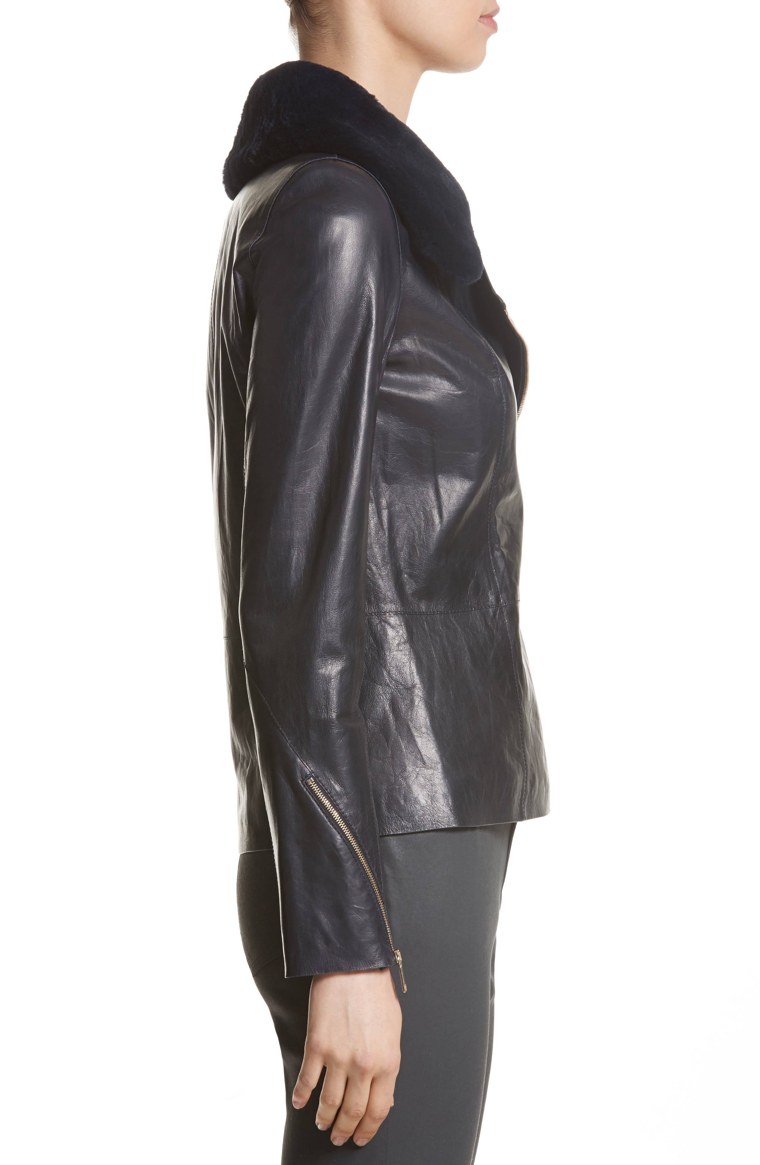 Kimbry Leather Jacket with Removable Genuine Rex Rabbit Fur Collar,                             Alternate thumbnail 3, color,                             Ink