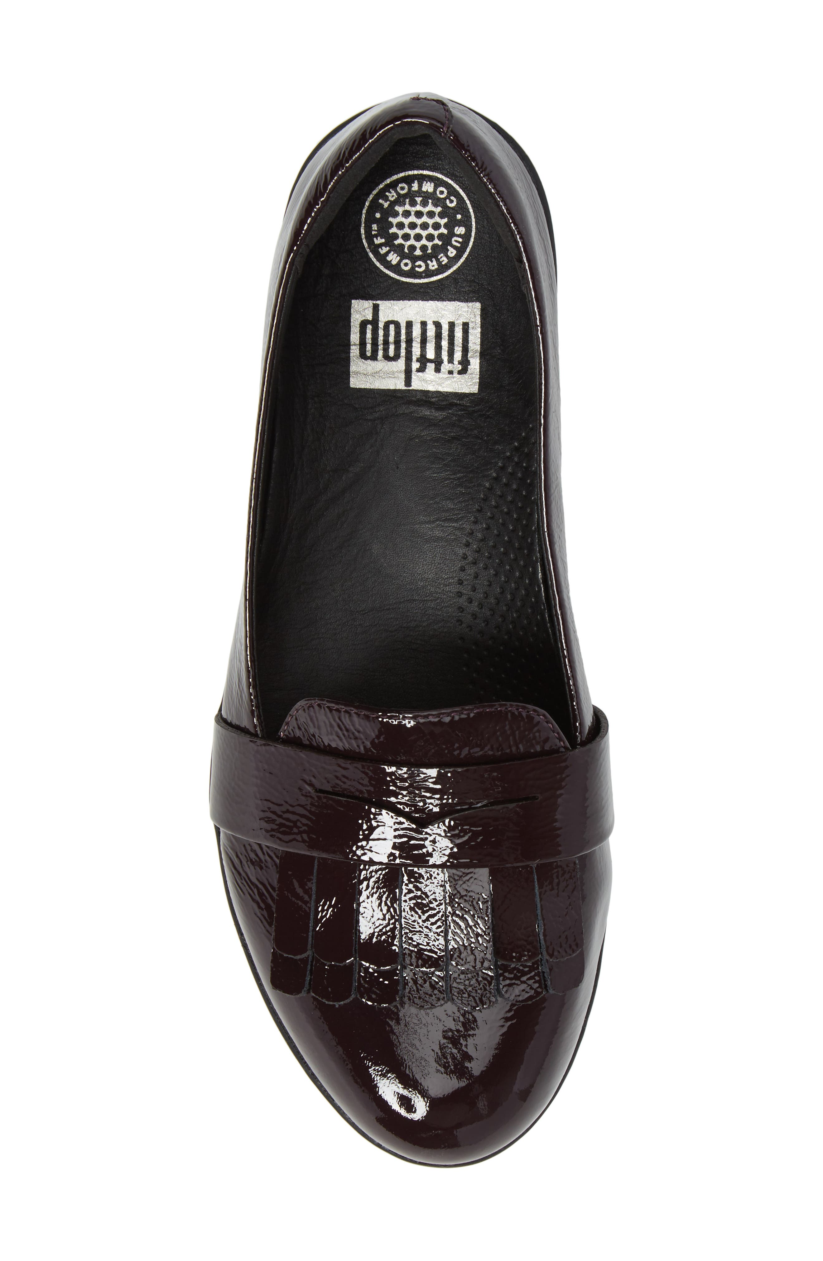 Fringey Sneakerloafer Slip-On,                             Alternate thumbnail 5, color,                             Deep Plum Leather