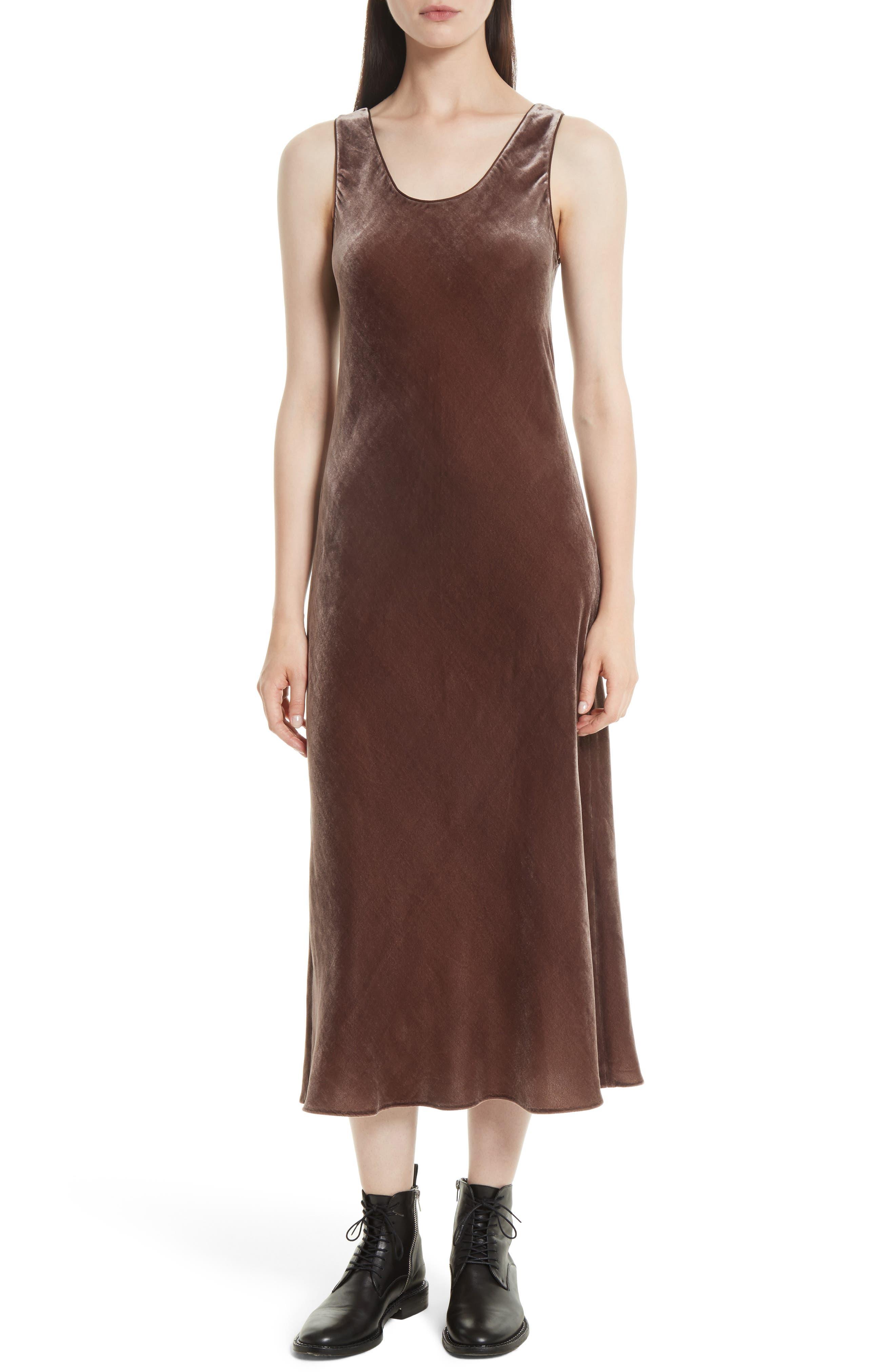 Velvet Tank Dress,                             Main thumbnail 1, color,                             Cocoa Bean